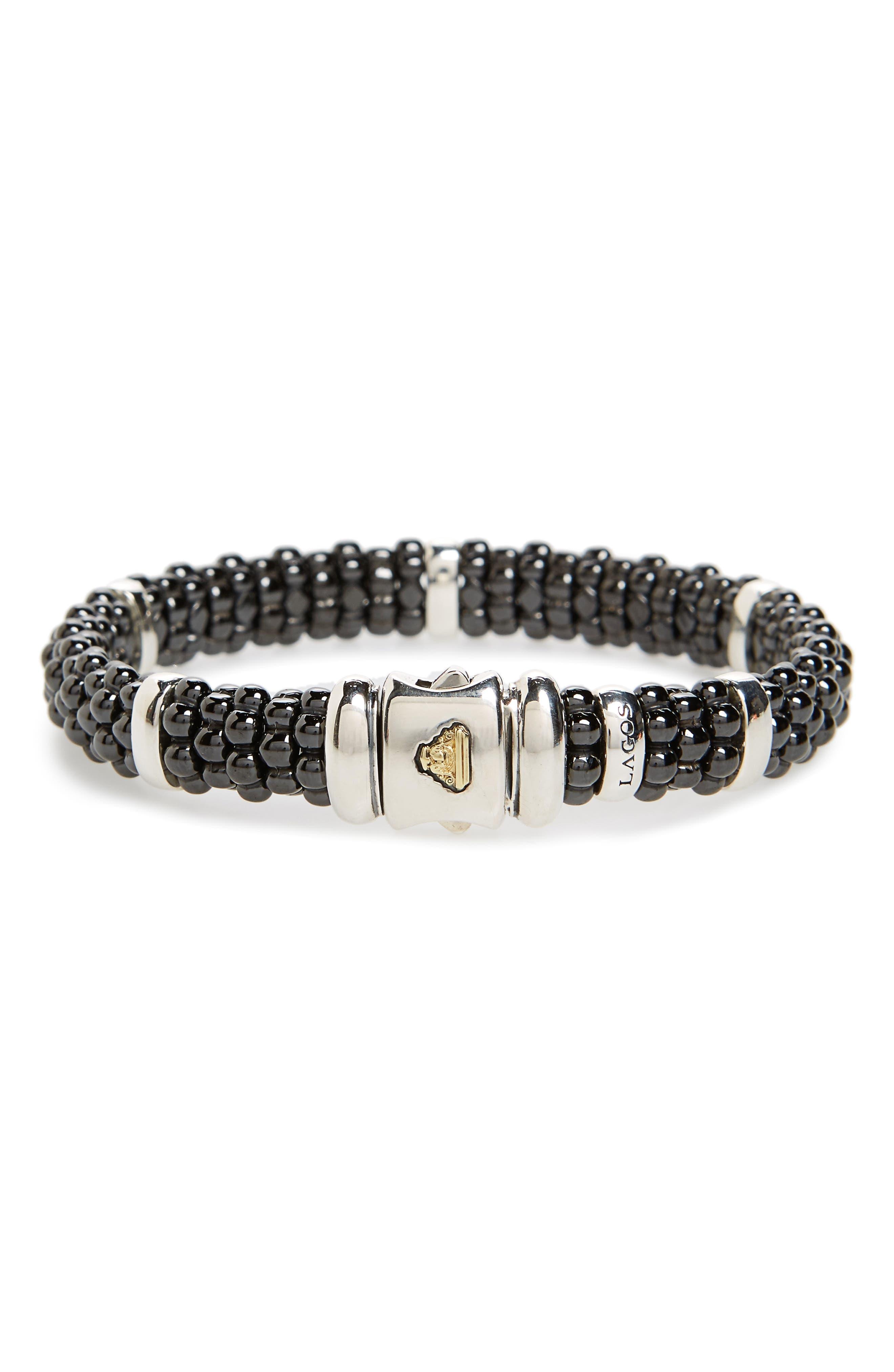 Black Caviar Station Bracelet,                             Main thumbnail 1, color,                             BLACK/ SILVER/ GOLD