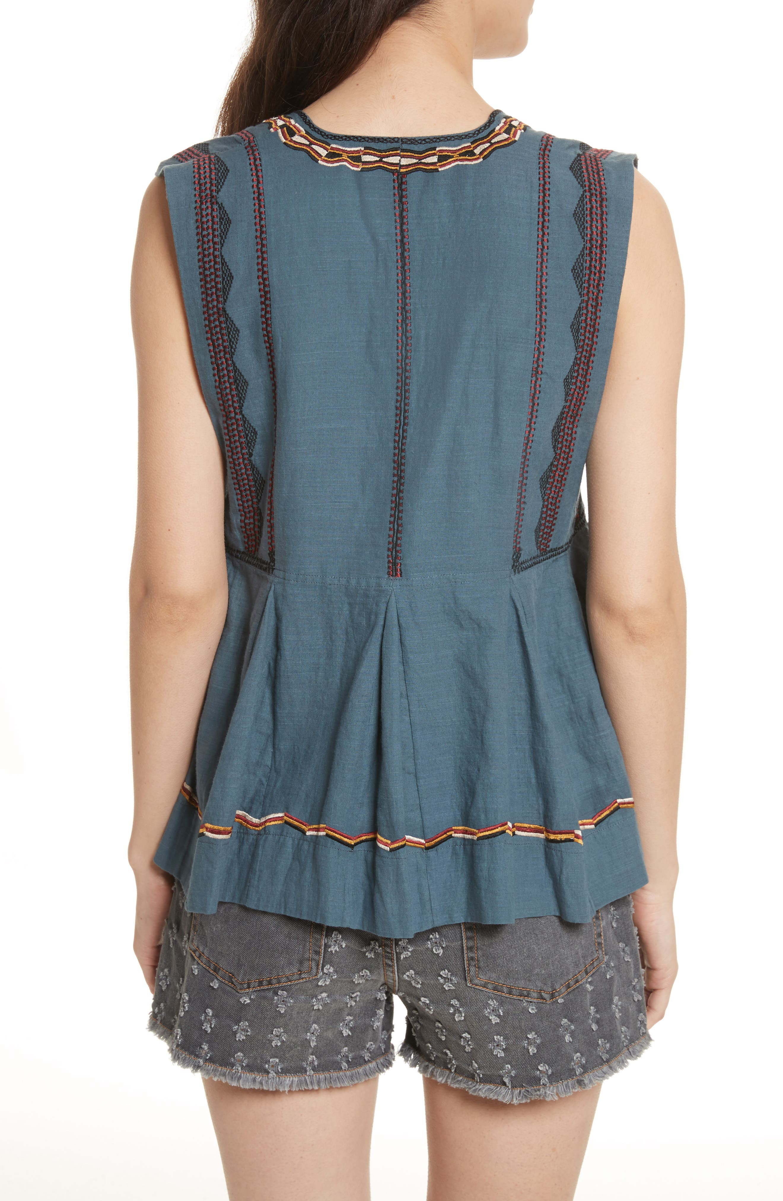 Isabel Marant Étoile Barney Embroidered Top,                             Alternate thumbnail 2, color,