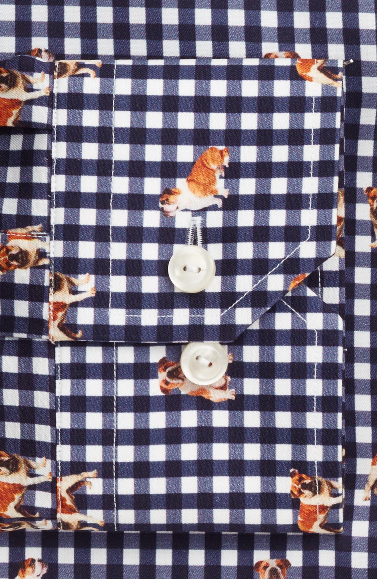 Slim Fit Print Dress Shirt,                             Alternate thumbnail 4, color,                             400