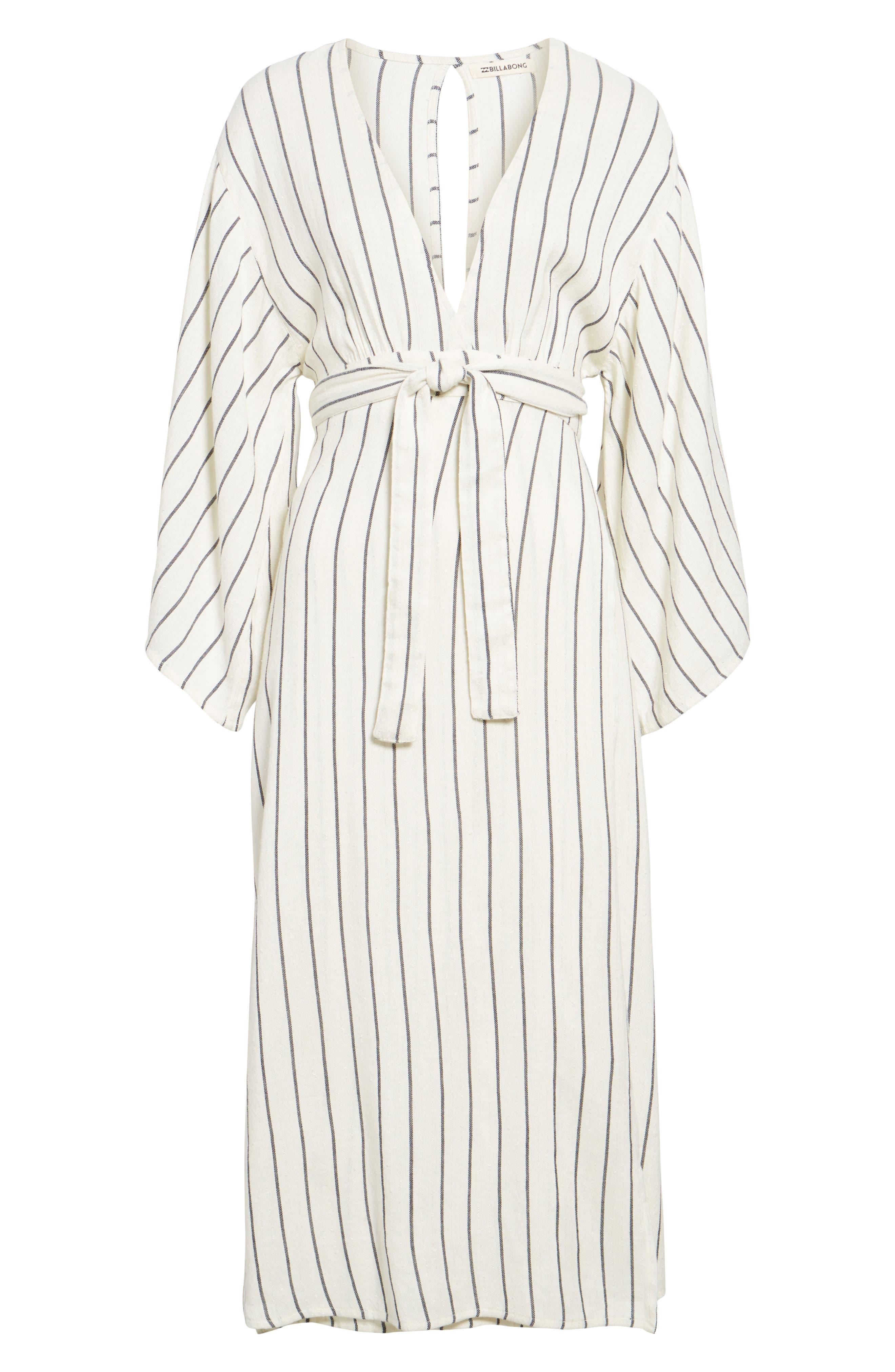 Robe Life Striped Midi Dress,                             Alternate thumbnail 6, color,                             190