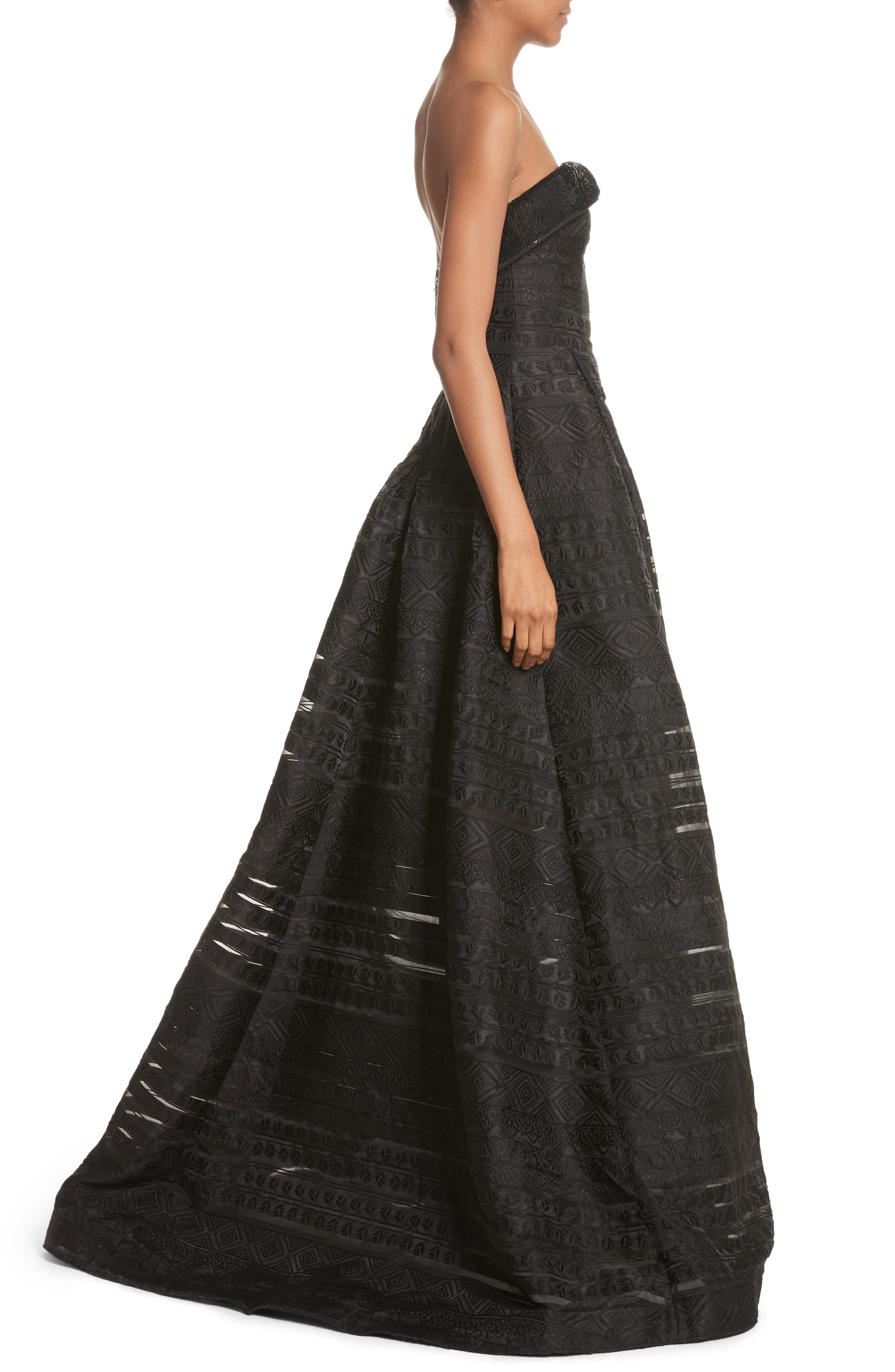 Noir Istiklal Embellished Strapless Ballgown,                             Alternate thumbnail 3, color,                             001