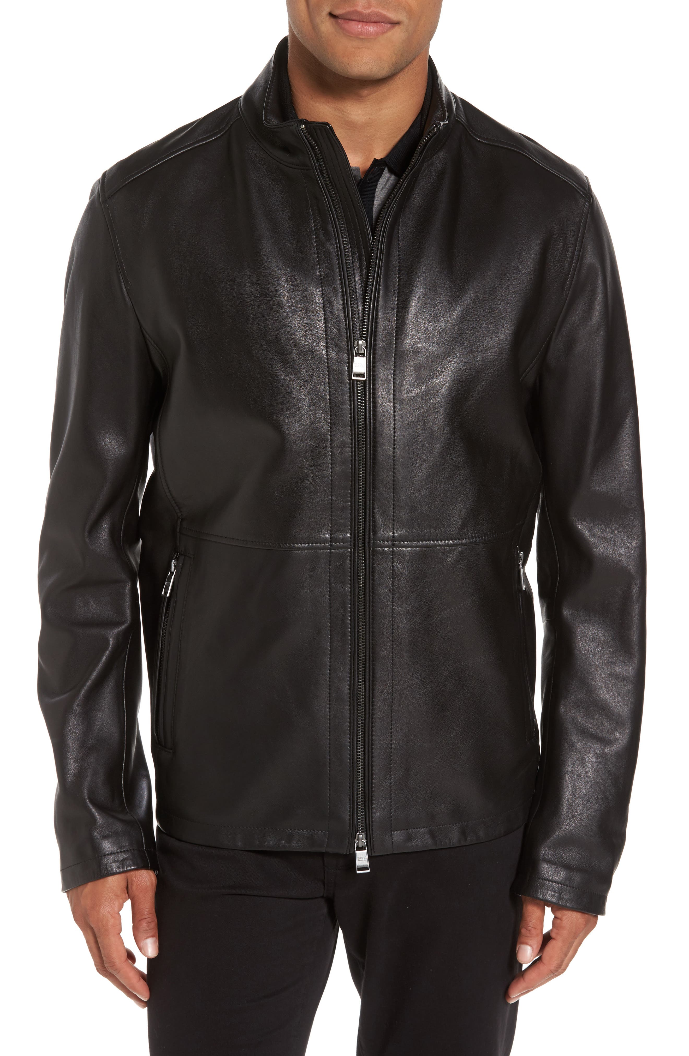 Collar Inset Leather Jacket,                             Main thumbnail 1, color,                             001