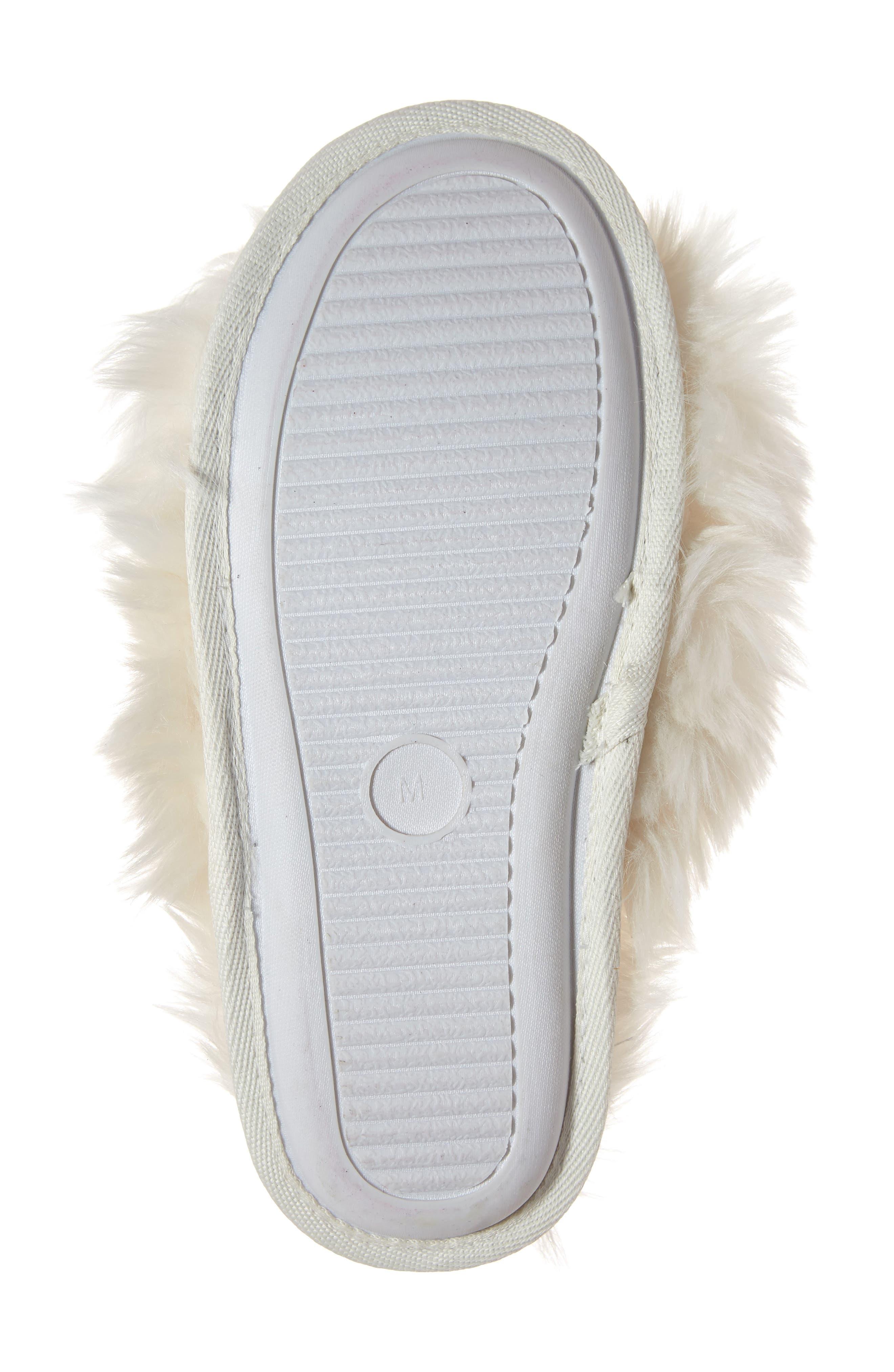 Cuddle Plush Faux Fur Scuff Slipper,                             Alternate thumbnail 6, color,                             IVORY