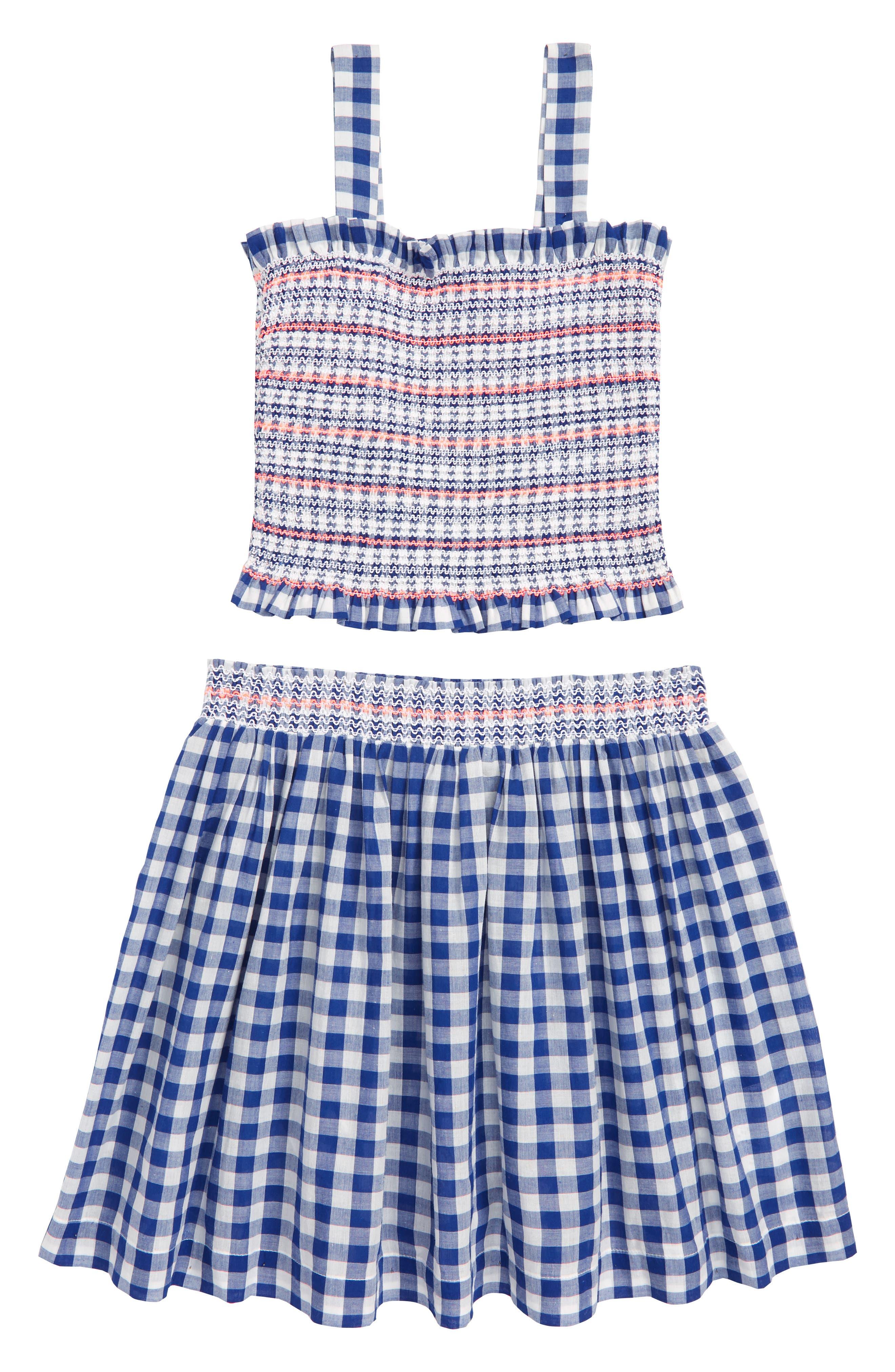 Gingham 2-Piece Dress,                             Main thumbnail 1, color,                             BRUNSWICK BLUE