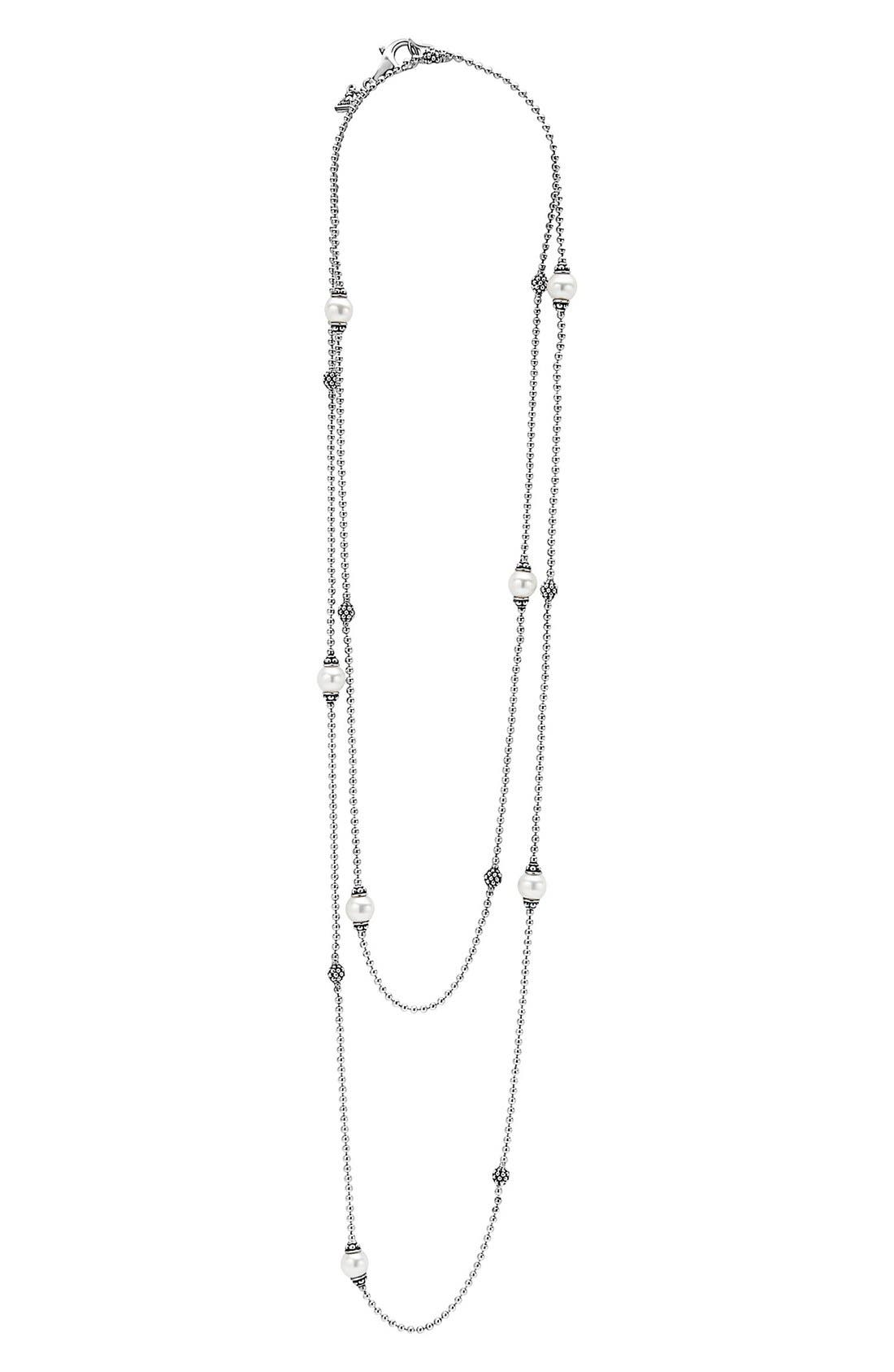 'Luna' Double Strand Pearl Station Necklace,                             Alternate thumbnail 3, color,                             SILVER/ PEARL