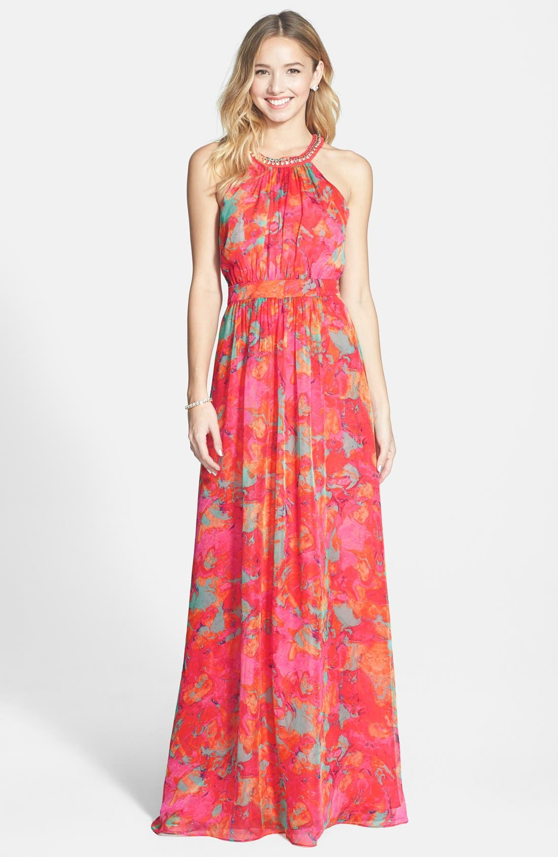 LAUNDRY BY SHELLI SEGAL,                             Embellished Print Chiffon Gown,                             Main thumbnail 1, color,                             600