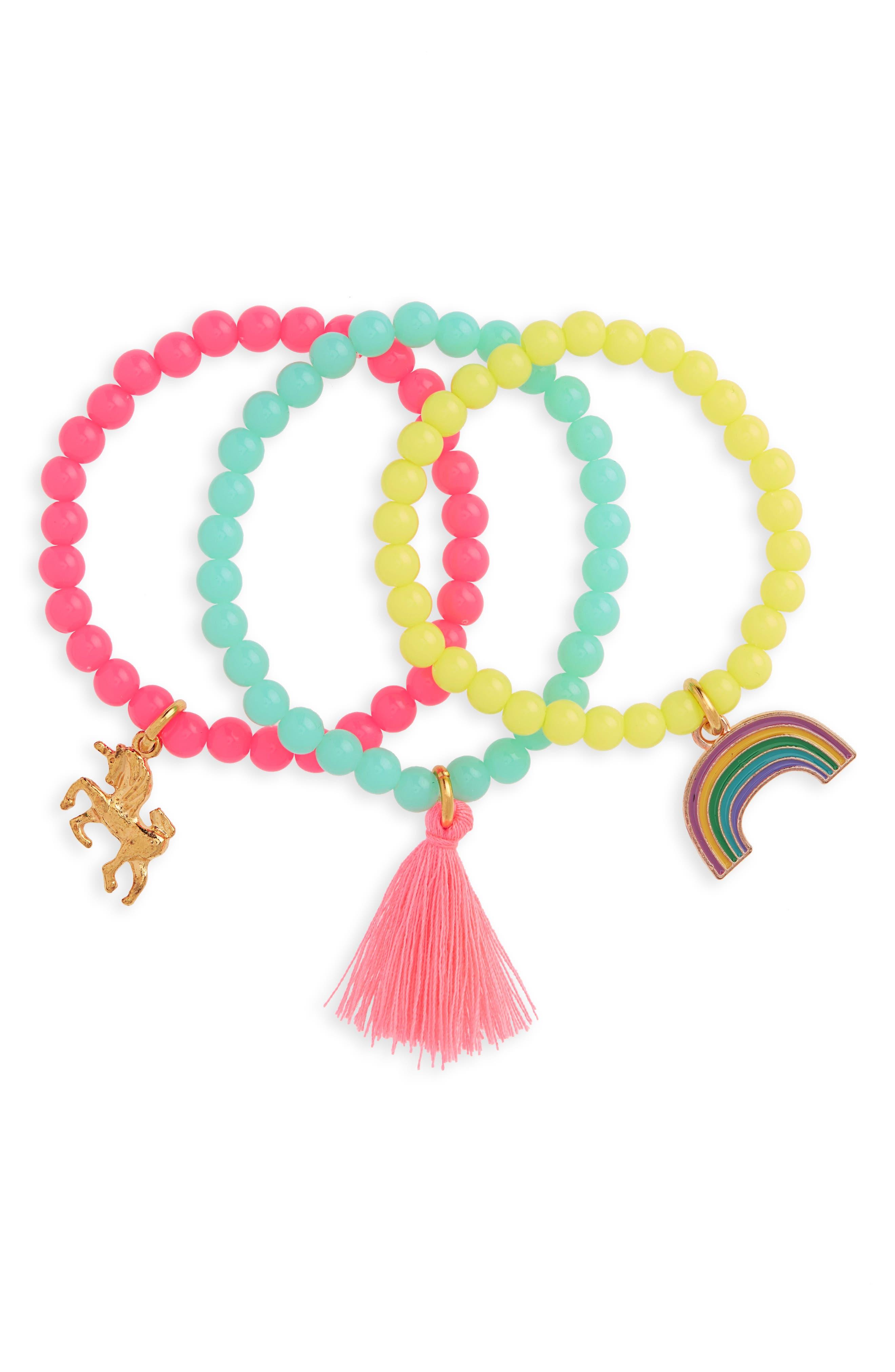 3-Pack Beaded Bracelets,                             Main thumbnail 1, color,                             CORAL