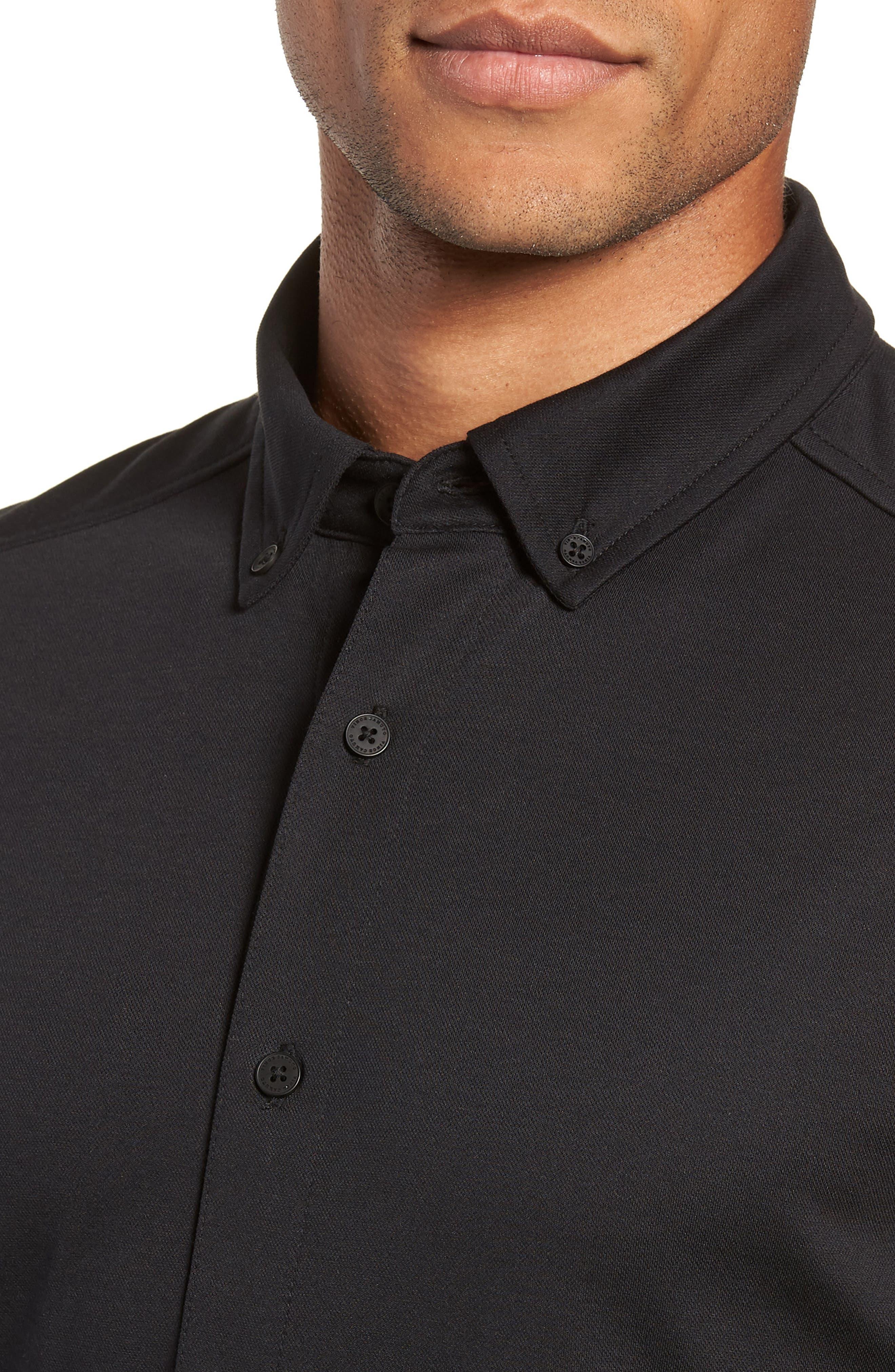 Slim Fit Button Down Collar Sport Shirt,                             Alternate thumbnail 2, color,                             BLACK