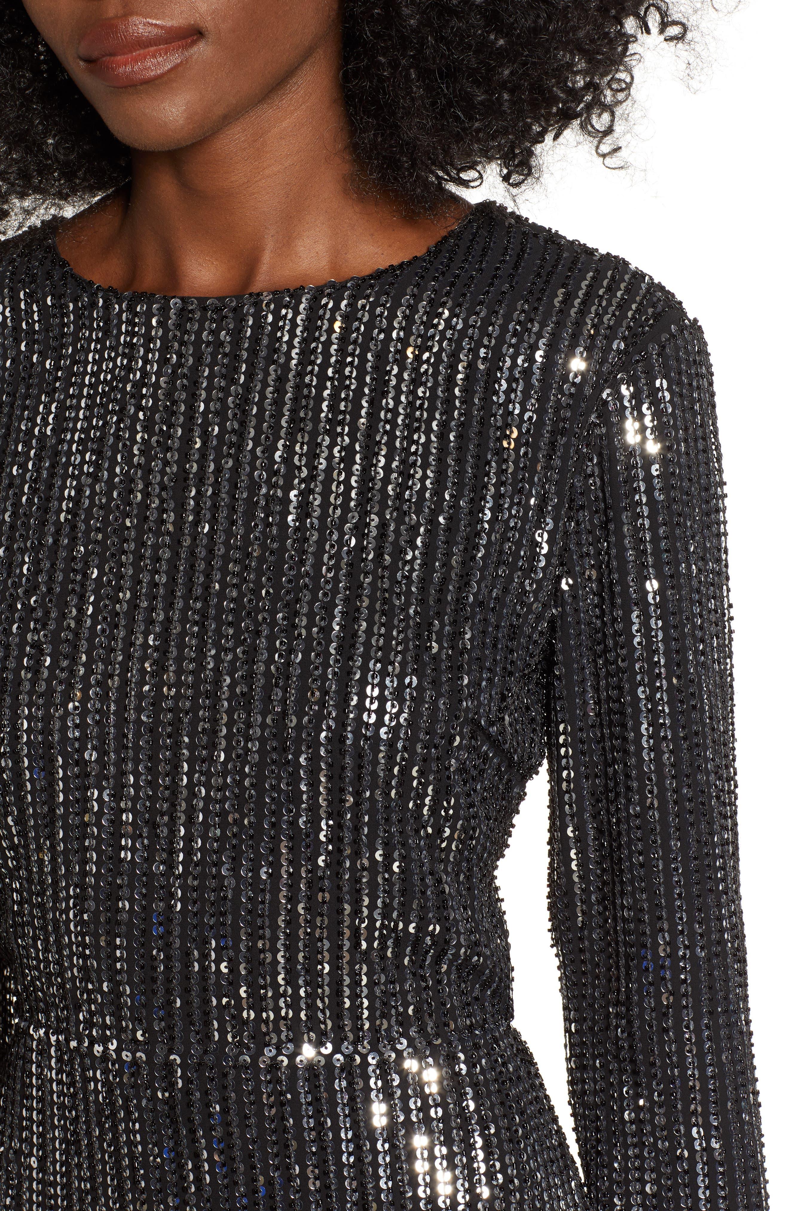 Open Back Sequin Dress,                             Alternate thumbnail 4, color,                             SILVER