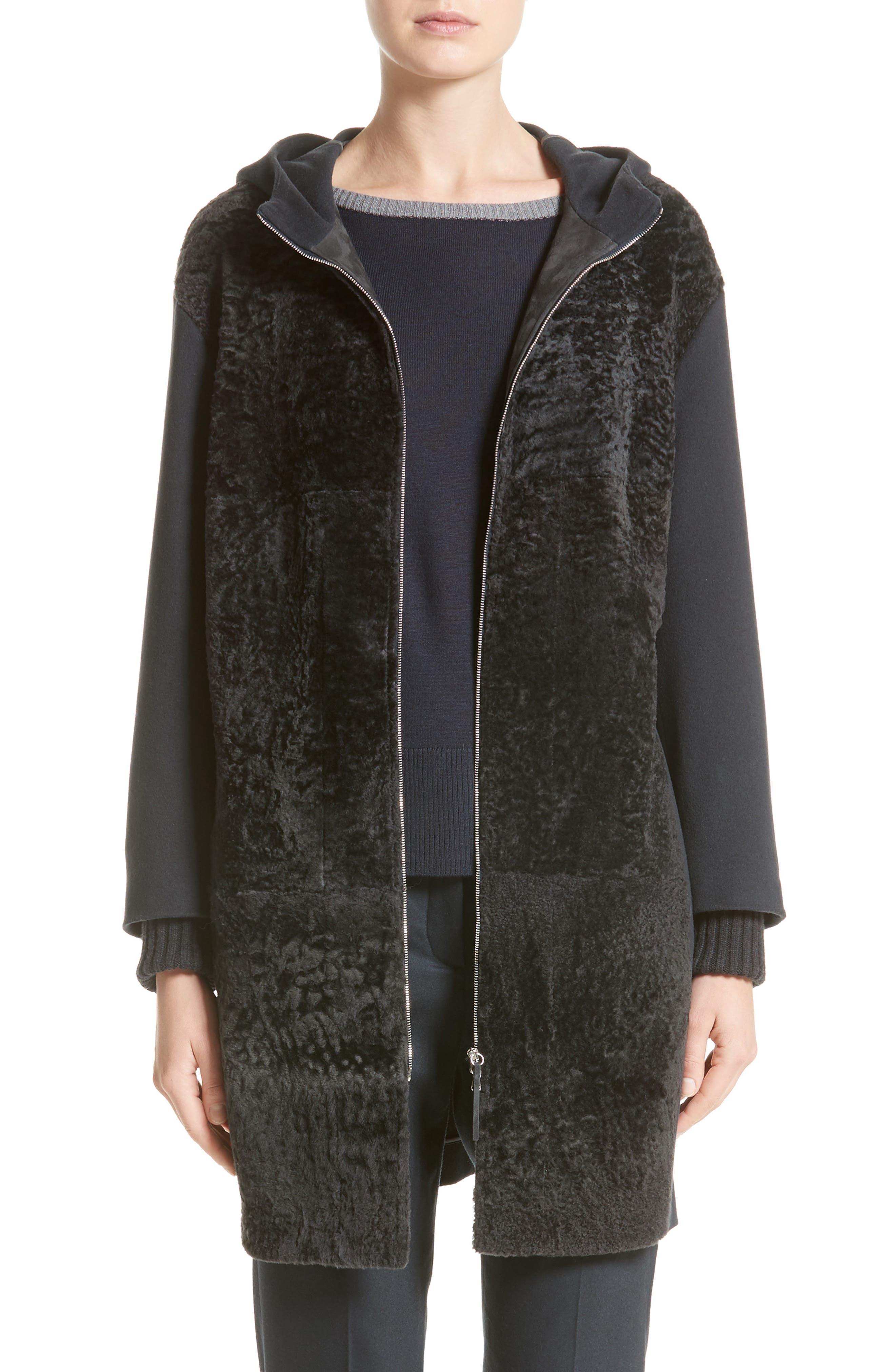Genuine Shearling Zip Long Hoodie,                         Main,                         color, 400