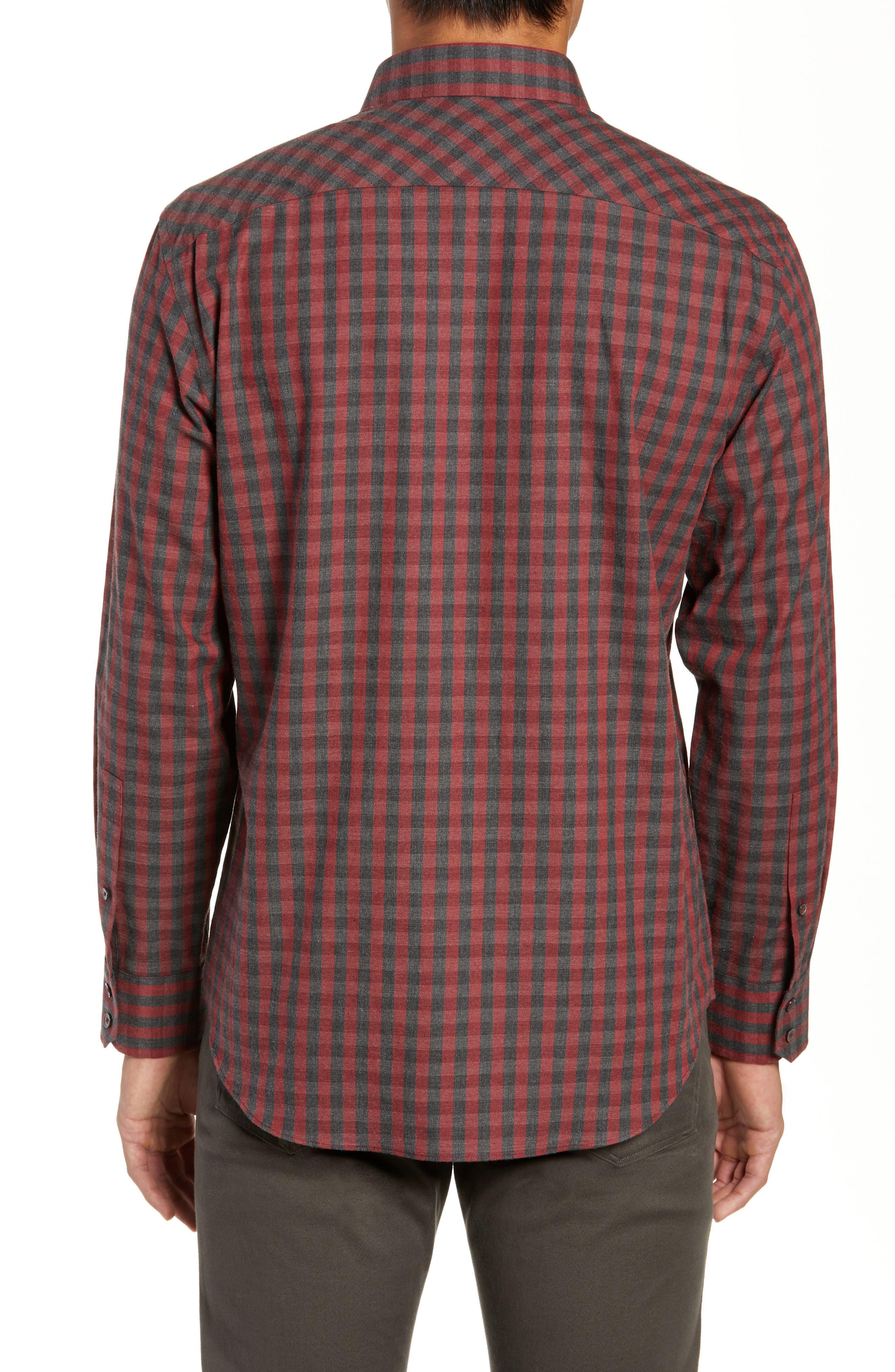Lieberman Regular Fit Check Sport Shirt,                             Alternate thumbnail 3, color,                             RED