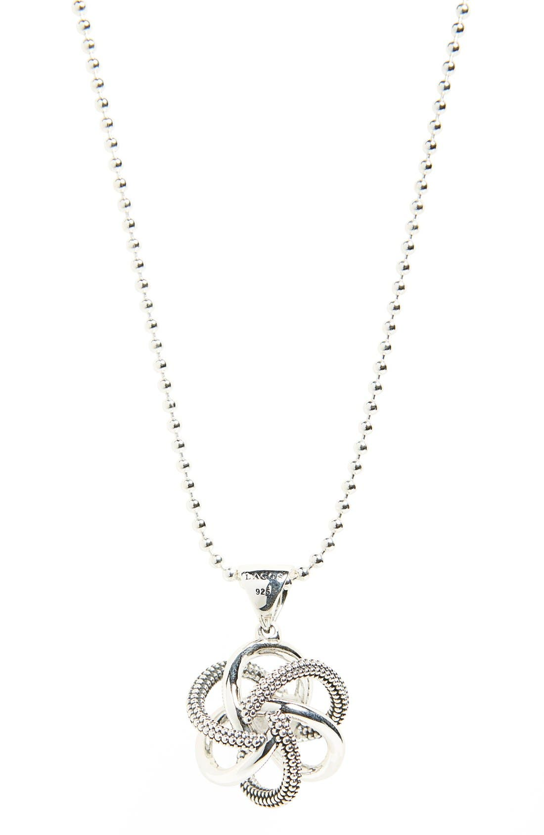 'Love Knot' Long Pendant Necklace,                             Alternate thumbnail 4, color,                             STERLING SILVER