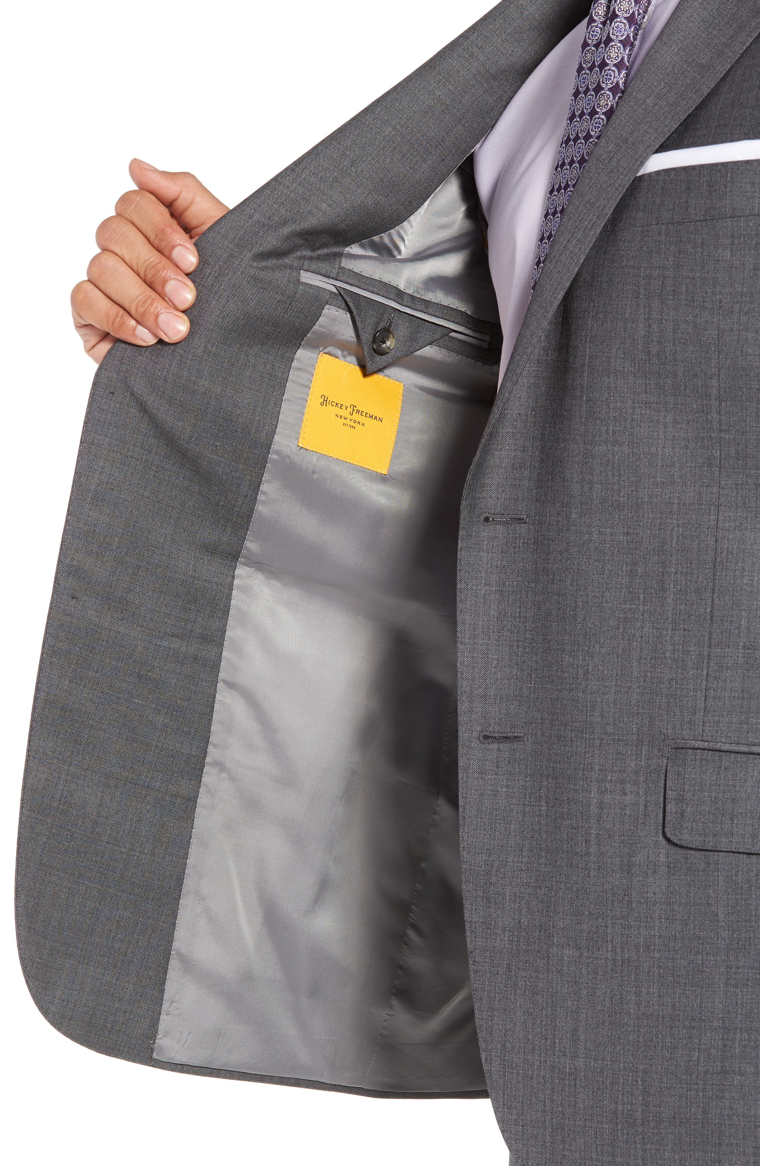 HICKEY FREEMAN,                             Classic B Fit Solid Wool Suit,                             Alternate thumbnail 4, color,                             020