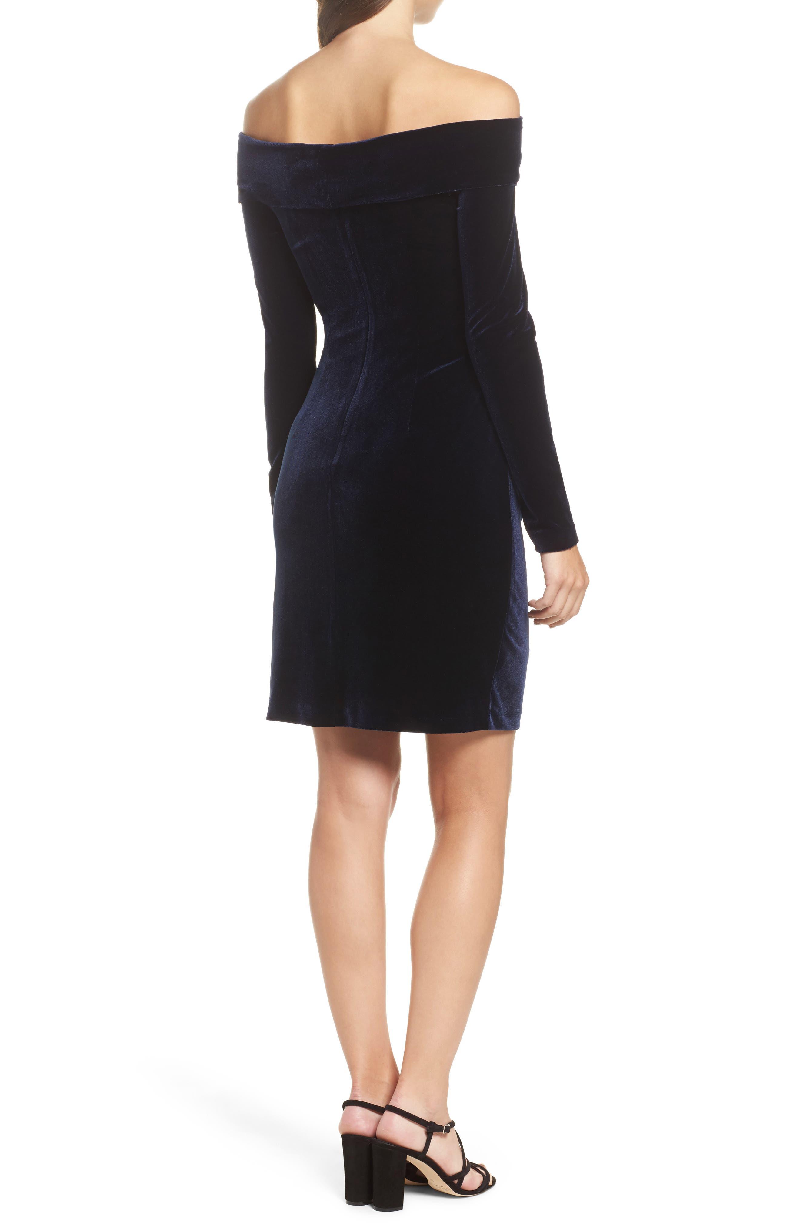 Off the Shoulder Velvet Sheath Dress,                             Alternate thumbnail 2, color,                             NAVY