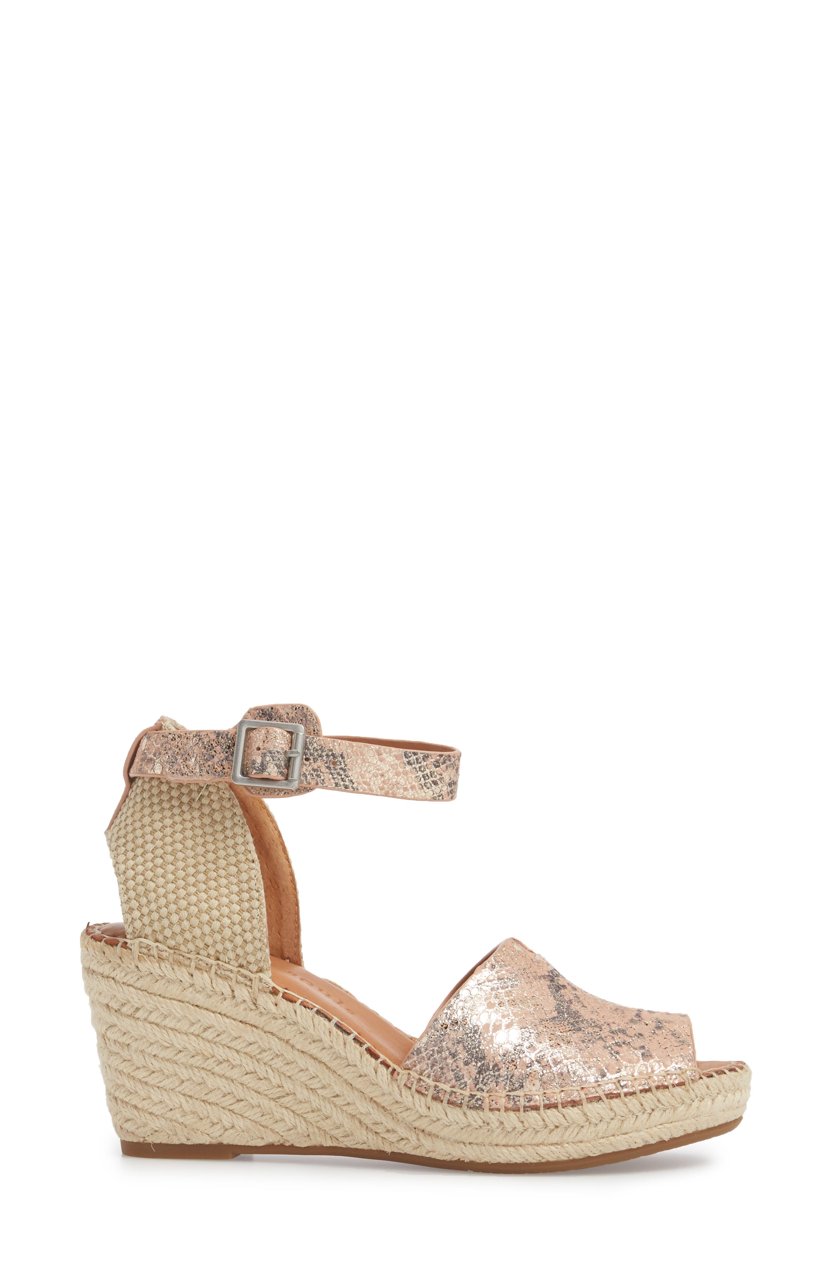 by Kenneth Cole Charli Espadrille Wedge,                             Alternate thumbnail 3, color,                             ROSE METALLIC LEATHER