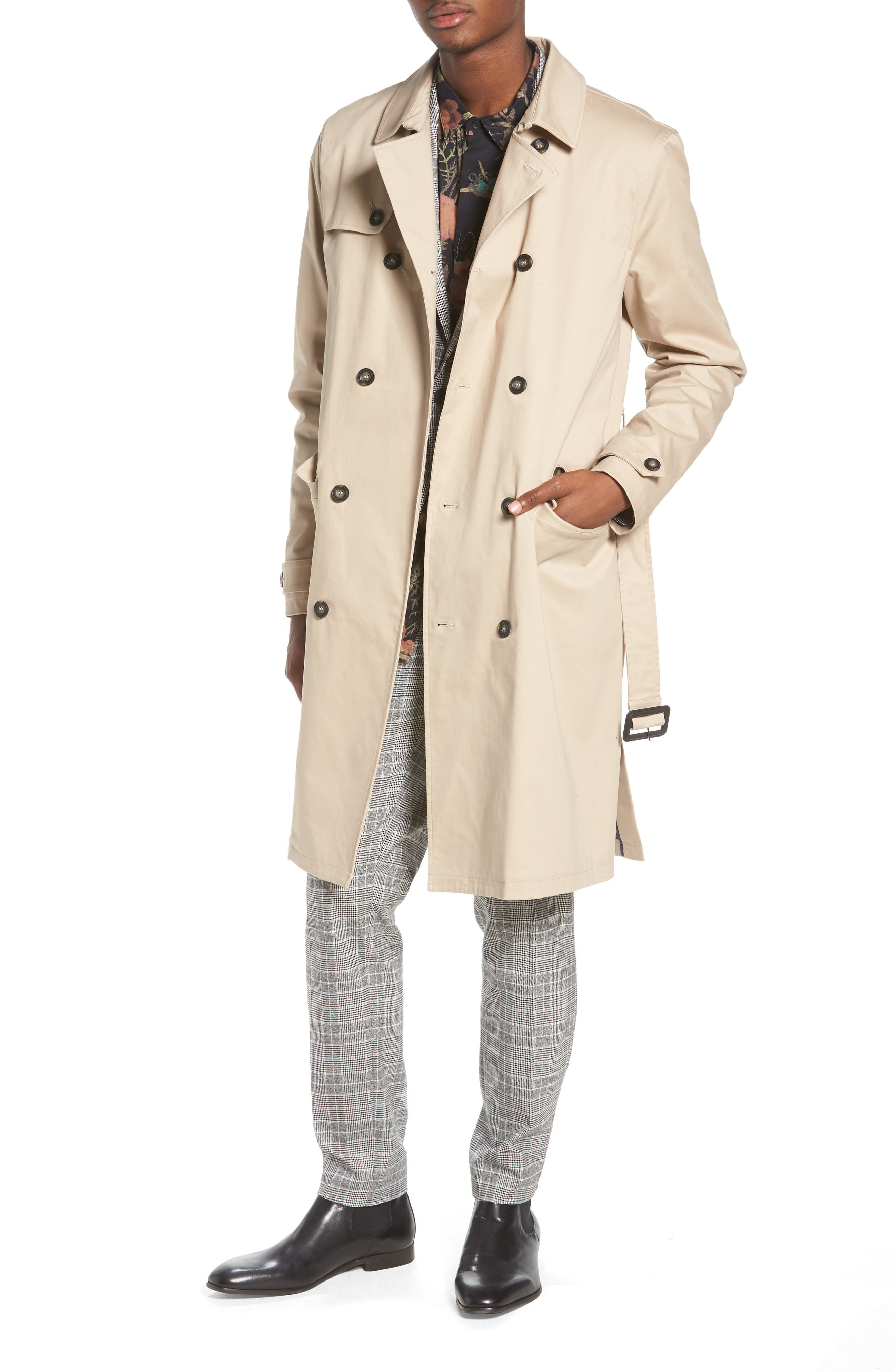 Peached Trench Coat,                             Main thumbnail 1, color,                             STONE