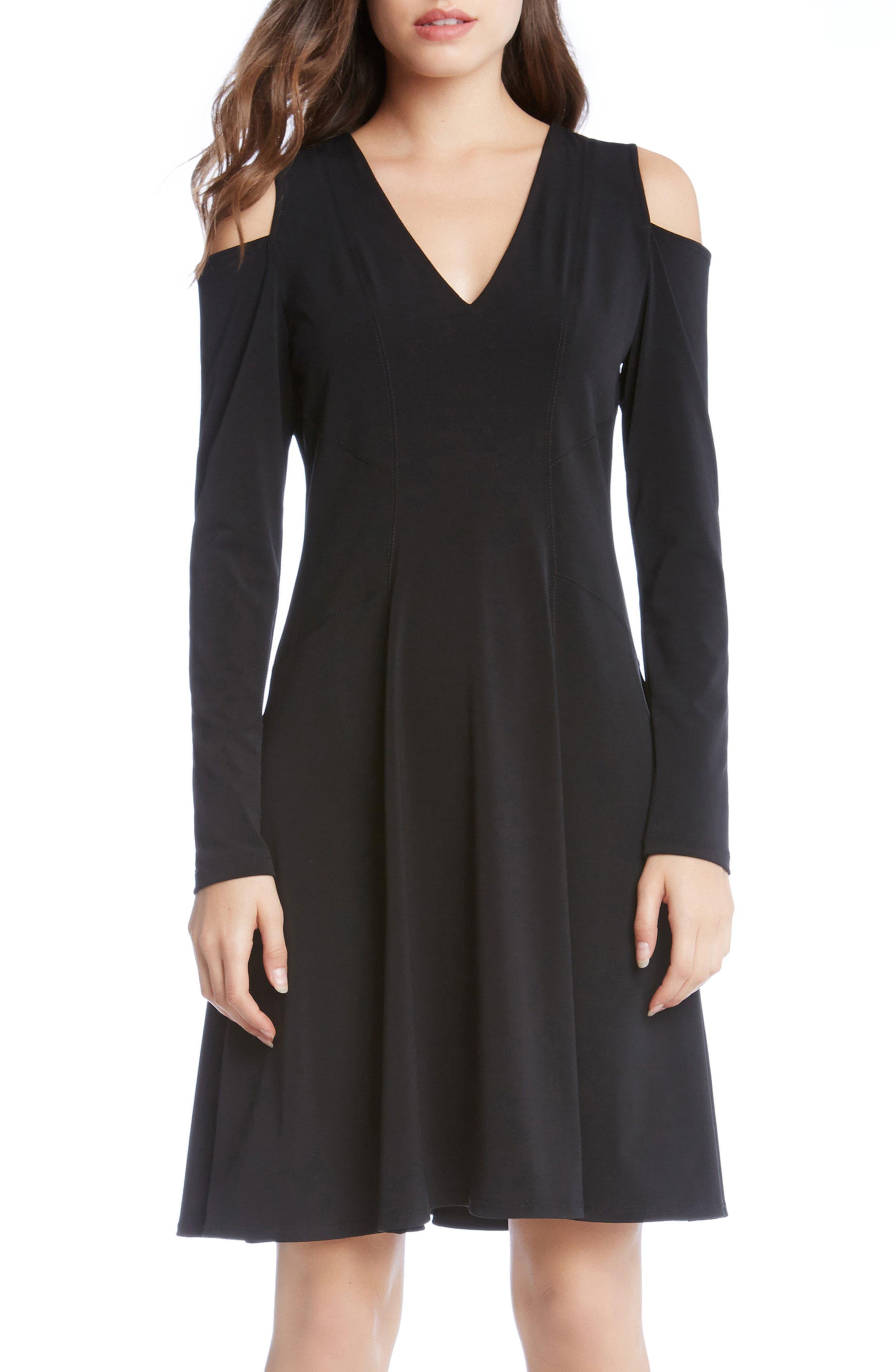 Cold Shoulder Dress,                             Main thumbnail 1, color,                             001