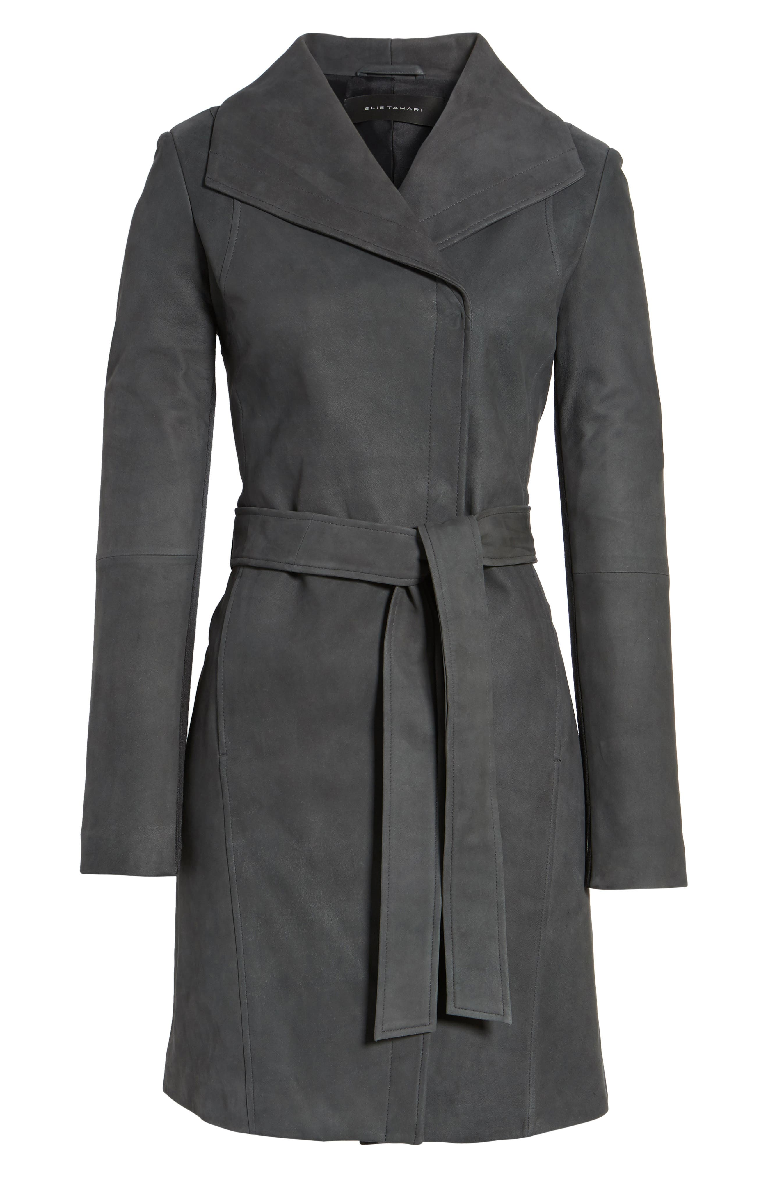 Jacqueline Belted Leather Trench Coat,                             Alternate thumbnail 5, color,                             065