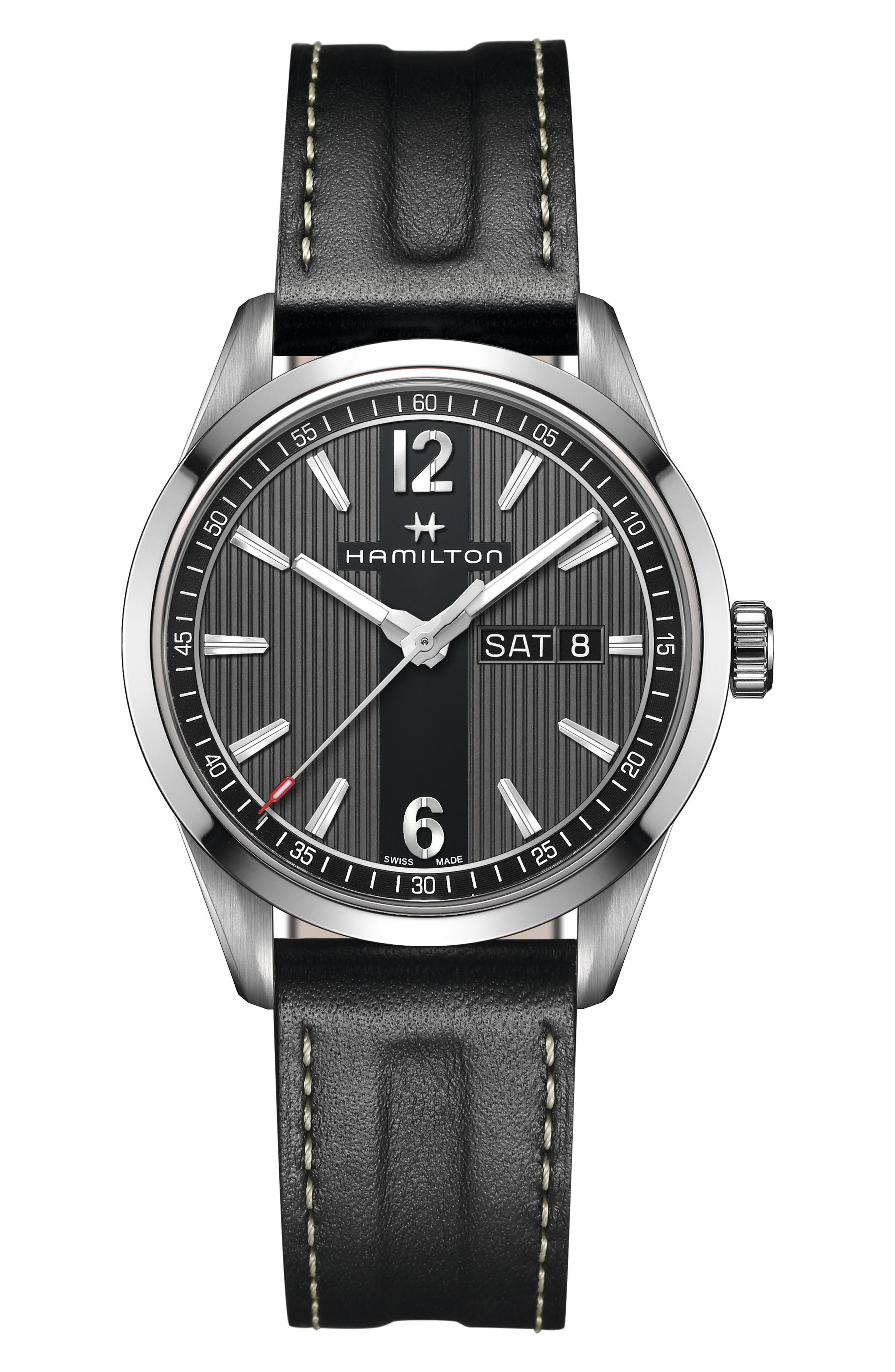 American Classic Broadway Leather Strap Watch, 40mm,                             Main thumbnail 1, color,                             002