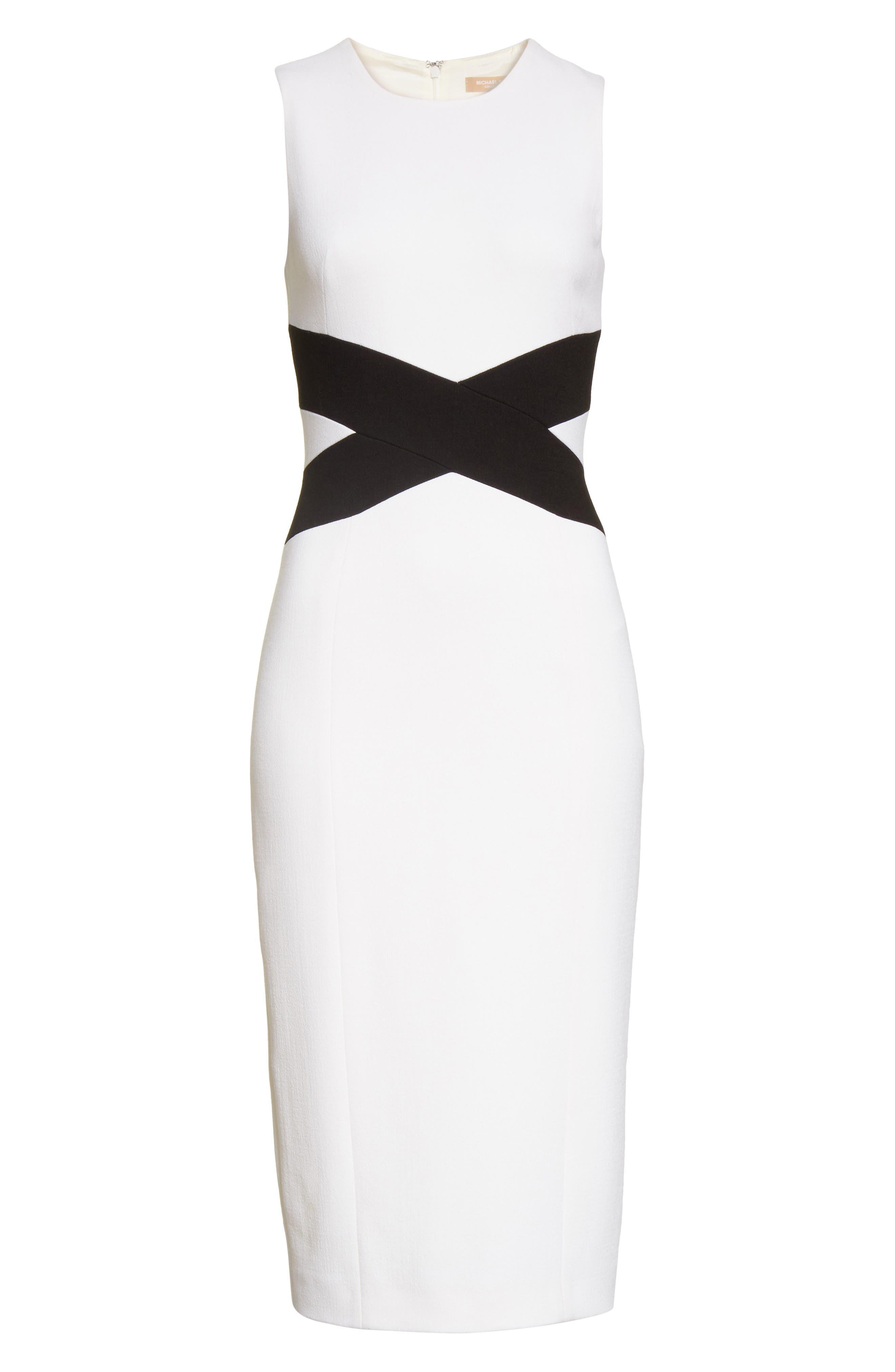 Contrast Stretch Bouclé Crepe Sheath Dress,                             Alternate thumbnail 6, color,                             101