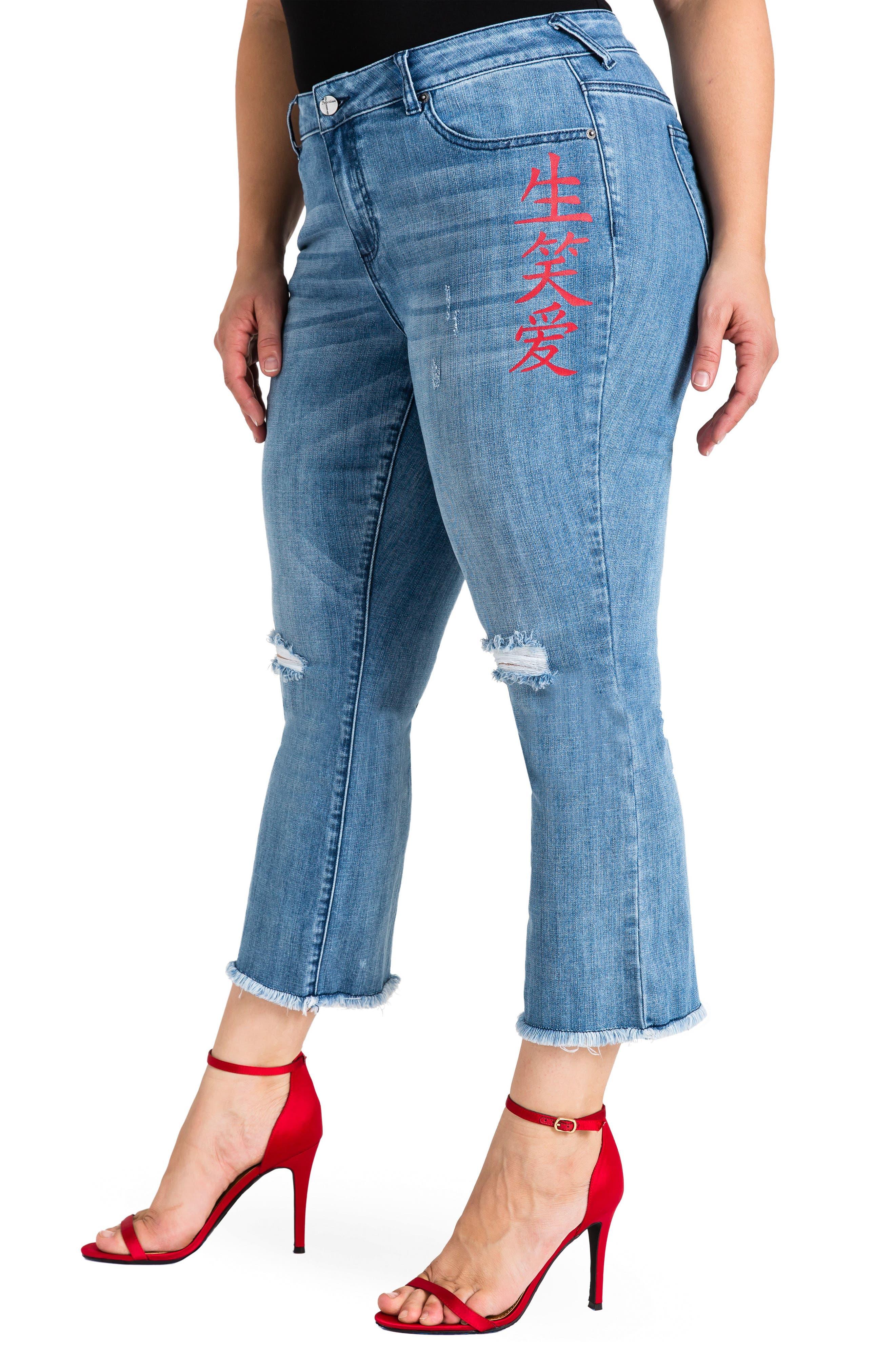 Frayed Crop Flare Jeans,                             Alternate thumbnail 3, color,                             LIGHT BLUE