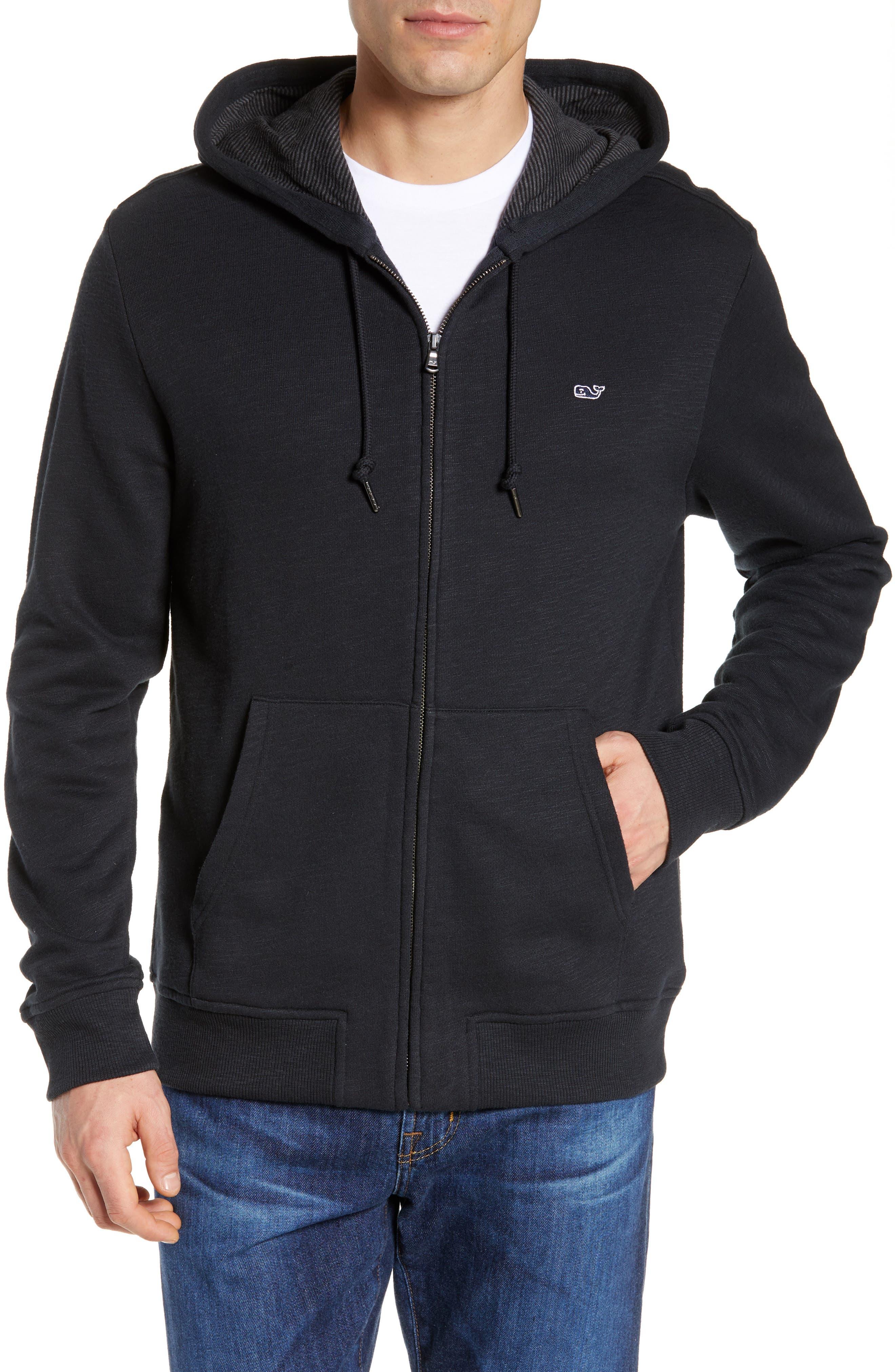 Zip Hoodie,                         Main,                         color, JET BLACK