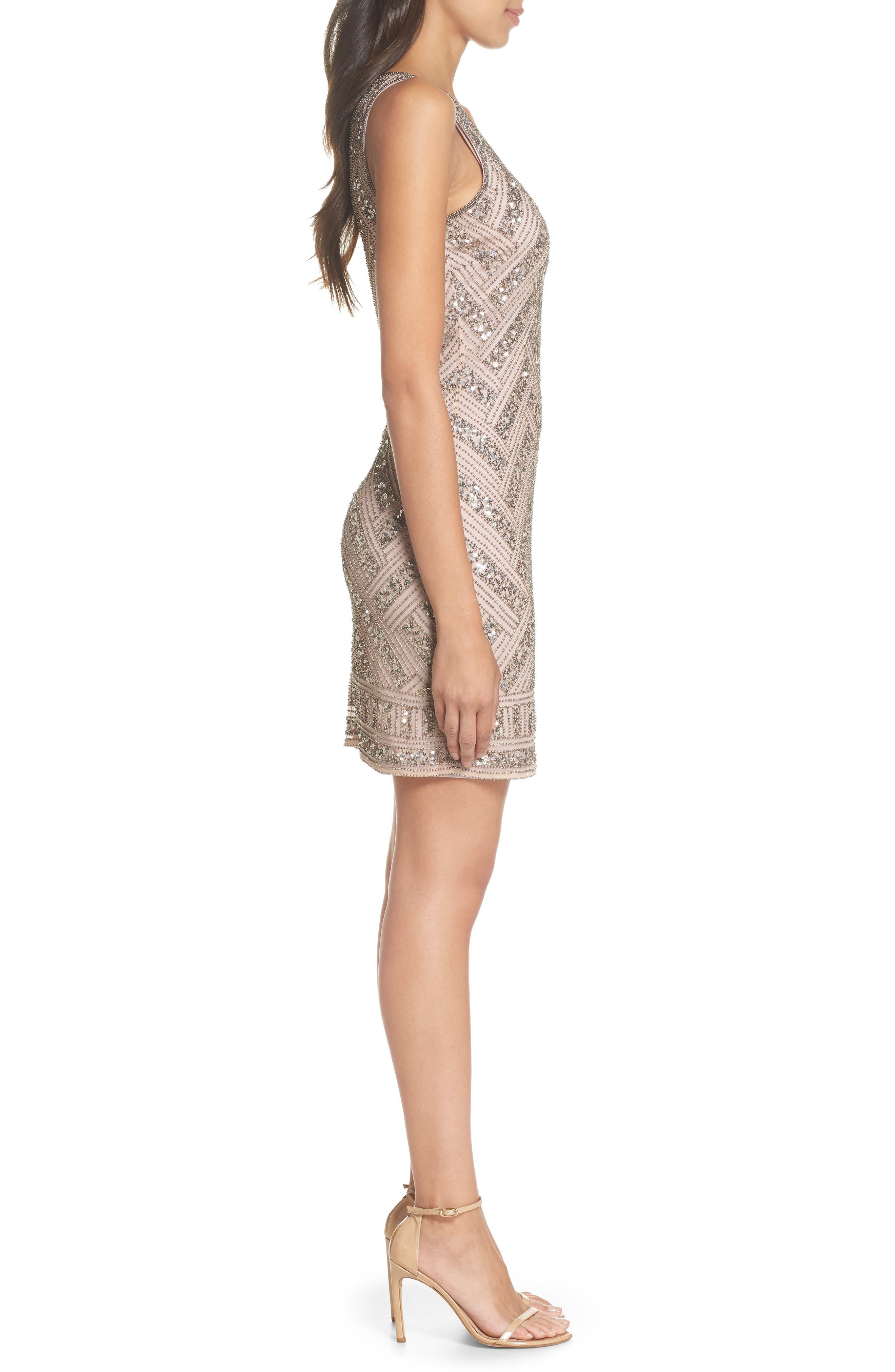 Beaded V-Neck Sheath Dress,                             Alternate thumbnail 3, color,                             LIGHT LAVENDER