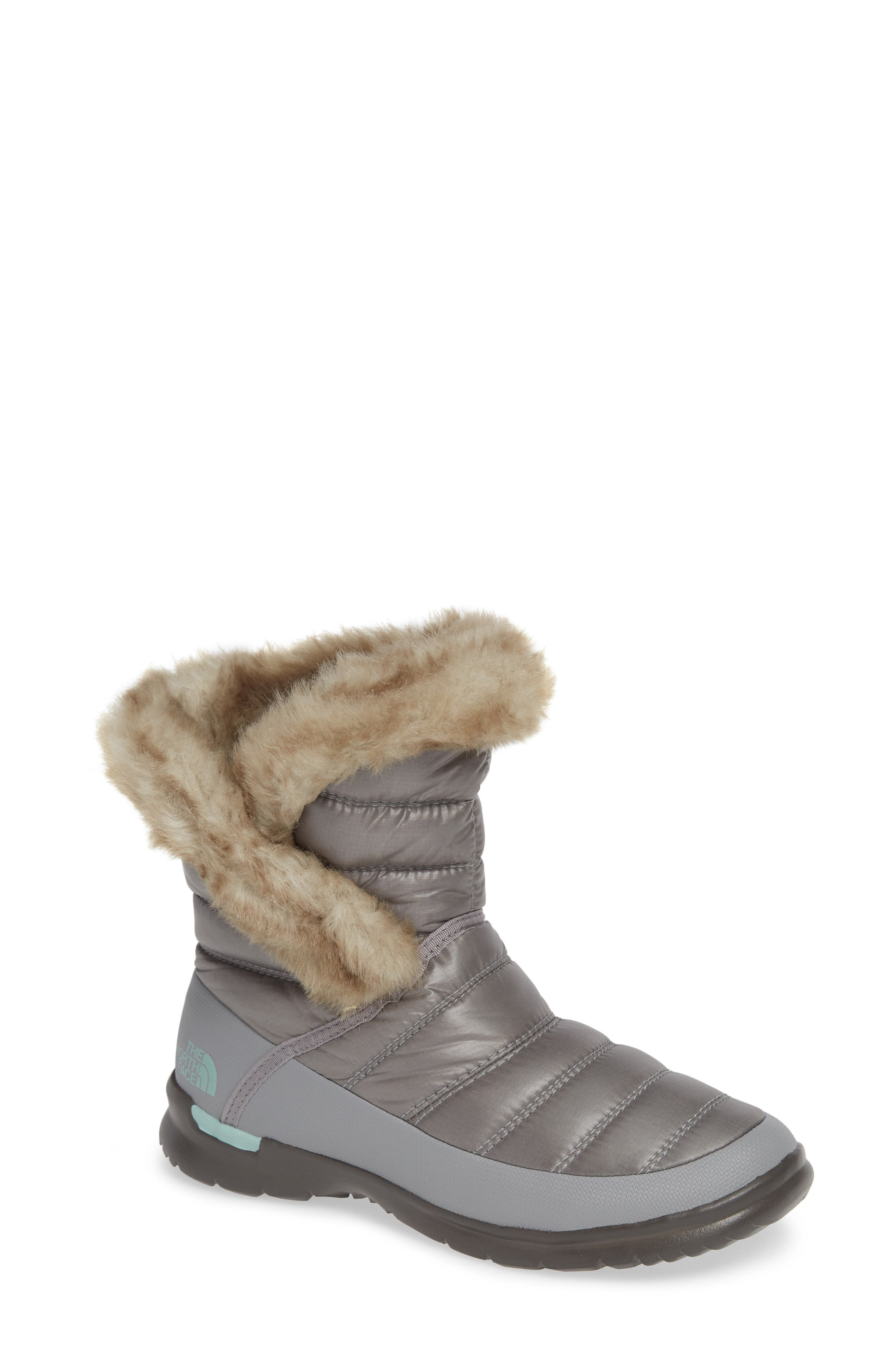 Microbaffle Waterproof ThermoBall<sup>®</sup> Insulated Winter Boot,                         Main,                         color, SHINY FROST GREY/ BLUE HAZE