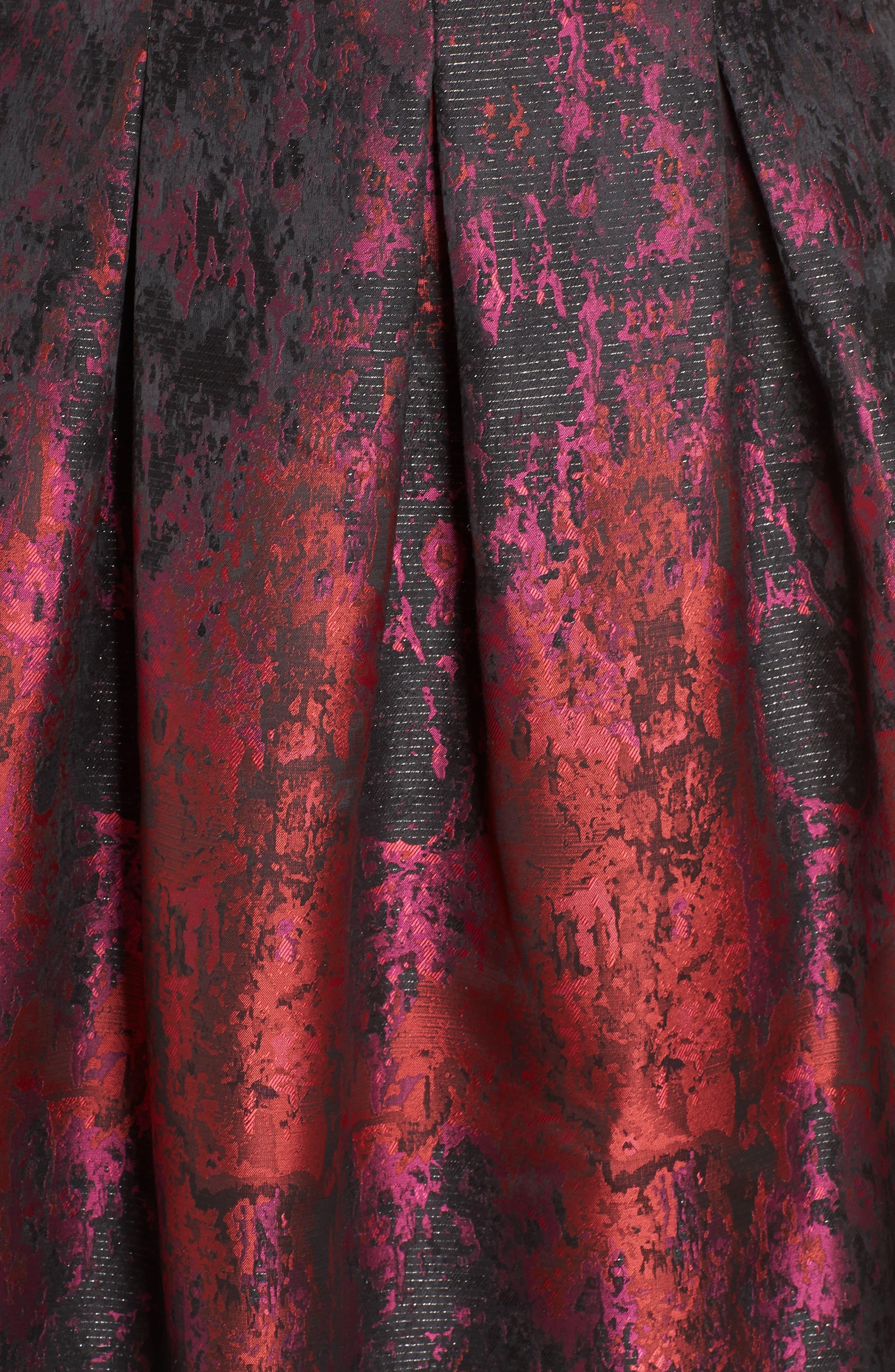 Sleeveless Jacquard Fit & Flare Dress,                             Alternate thumbnail 6, color,                             PINK MULTI