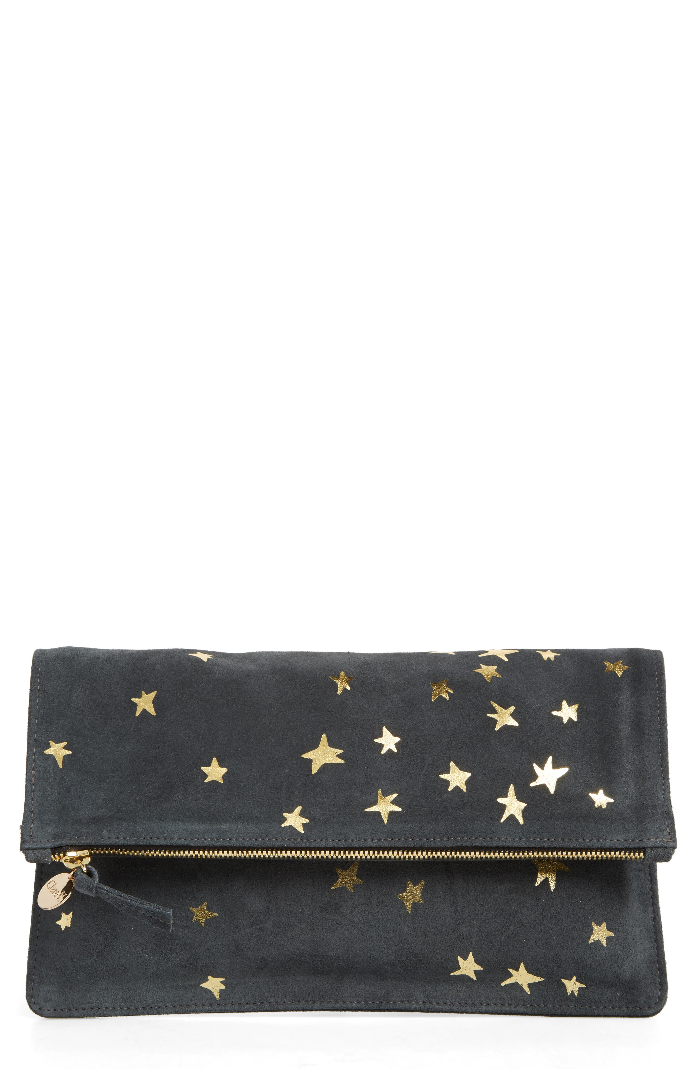 Margot Star Print Foldover Suede Clutch,                         Main,                         color, 020