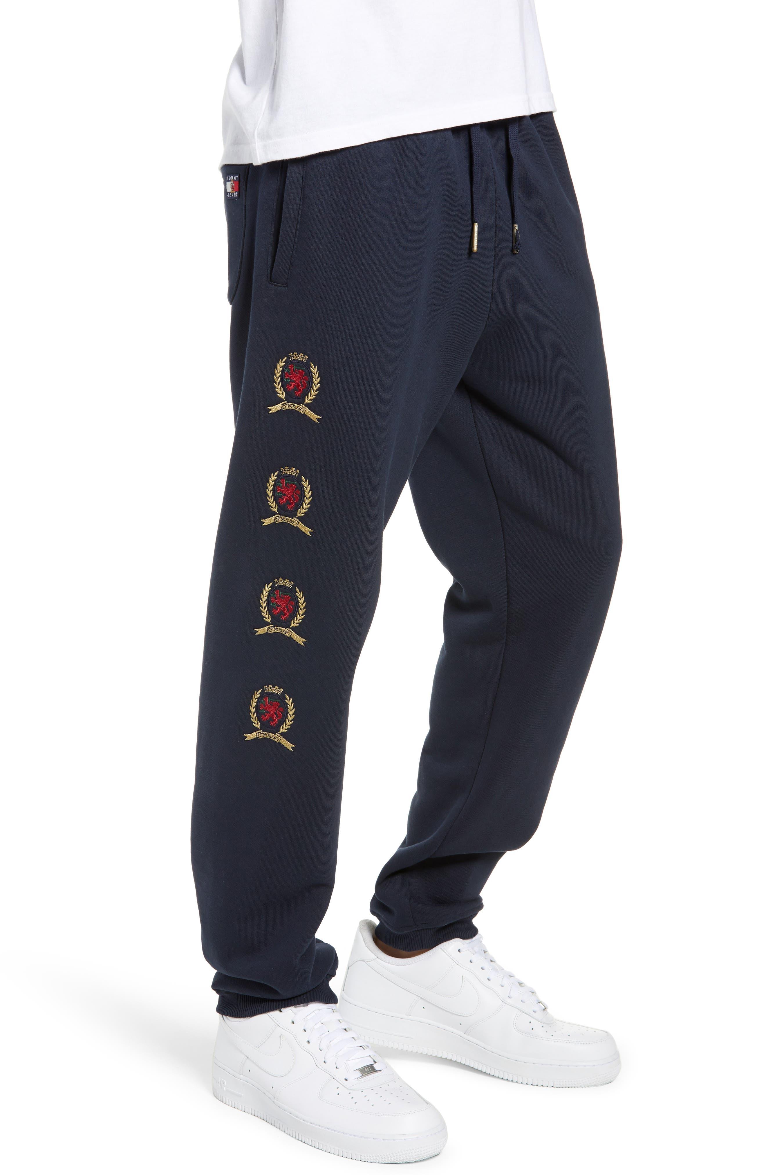 Embroidered Crest Sweatpants,                             Alternate thumbnail 3, color,                             DARK SAPPHIRE