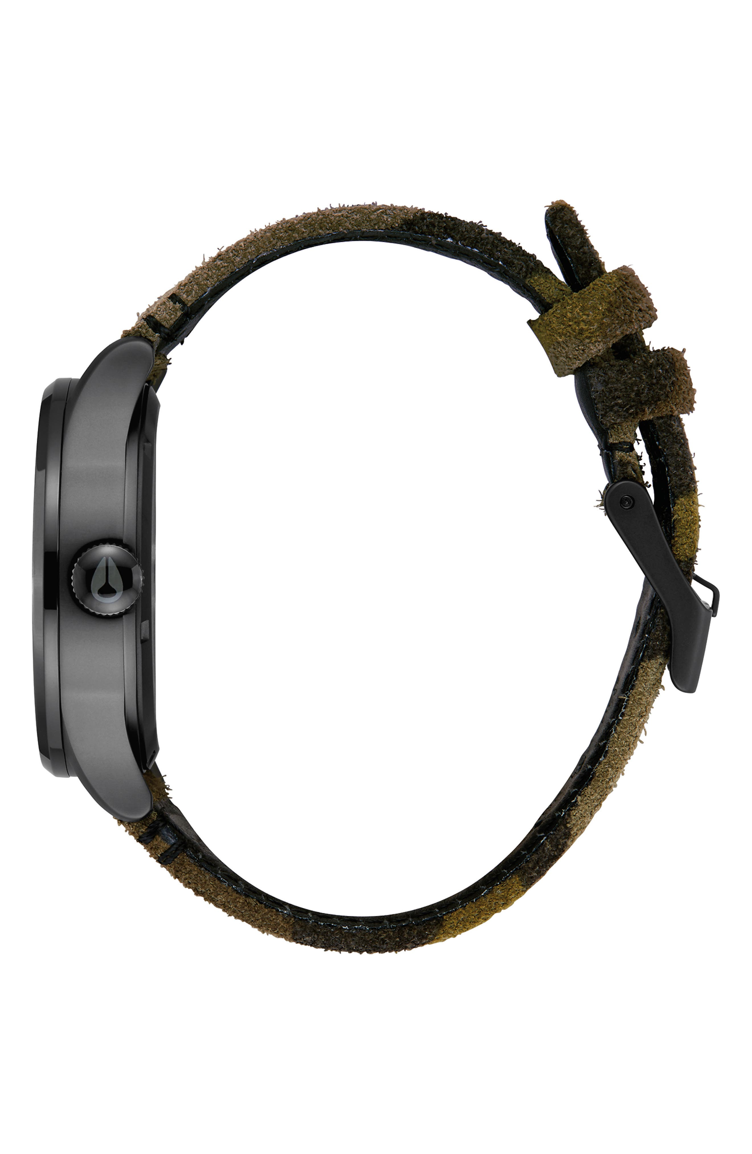 The Sentry Leather Strap Watch, 42mm,                             Alternate thumbnail 3, color,                             CAMO/ BLACK