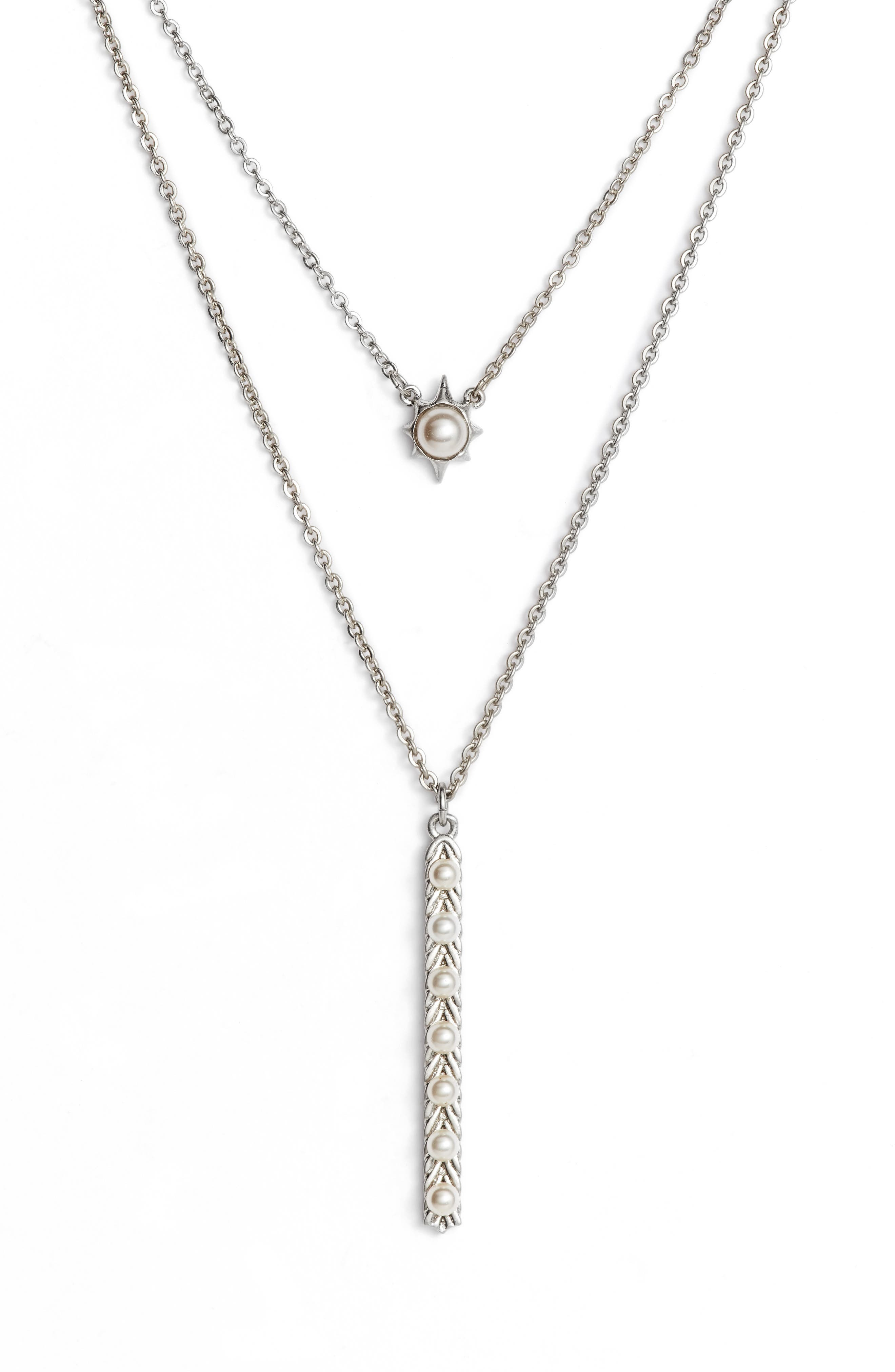 Layered Imitation Pearl Pendant Necklace,                             Alternate thumbnail 2, color,                             WORN SILVER/ IVORY PEARL