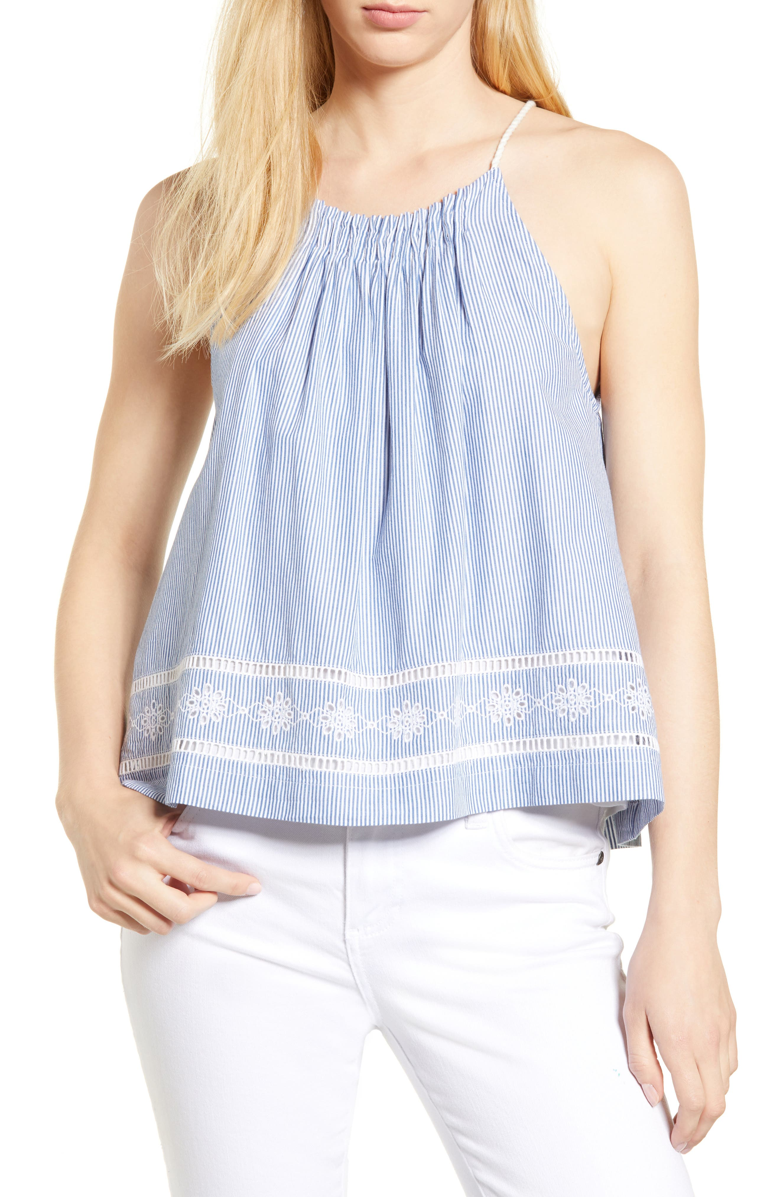 Sandbar Stripe Sleeveless Top,                             Main thumbnail 1, color,                             MOONSHINE