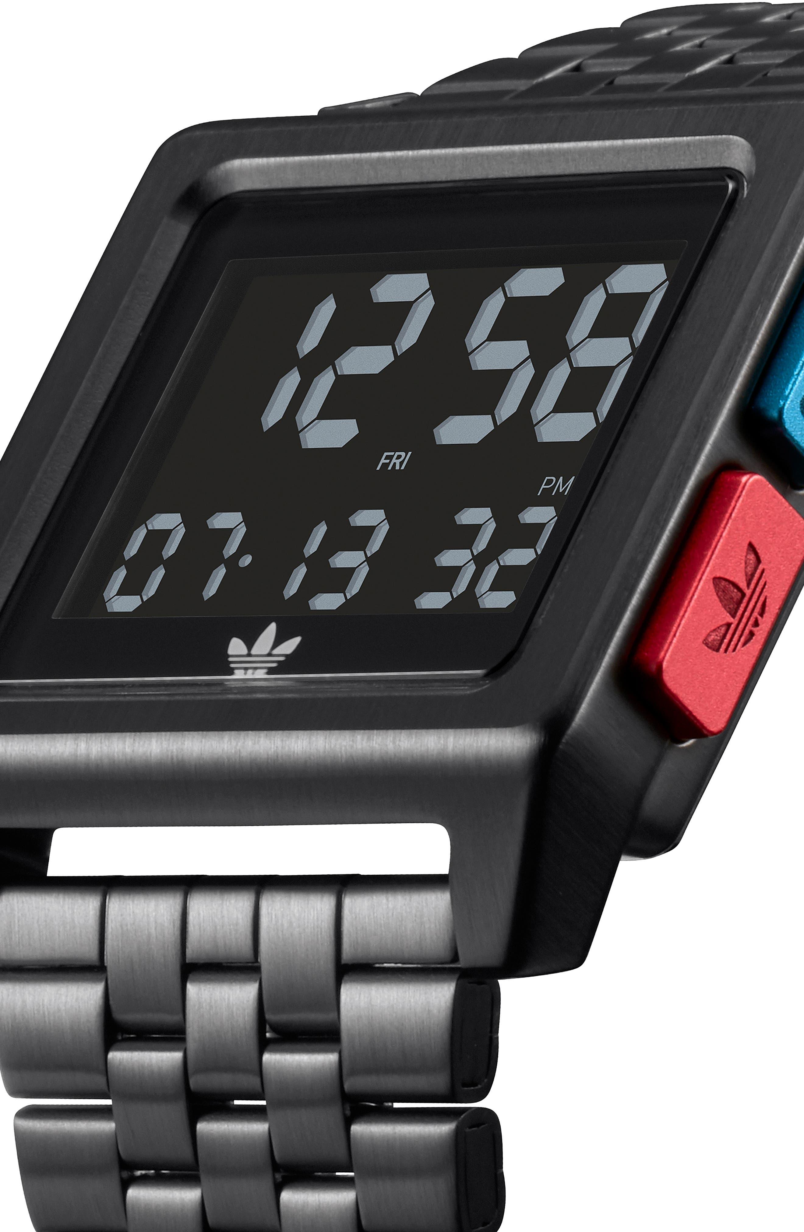 Archive Digital Bracelet Watch, 36mm,                             Alternate thumbnail 5, color,                             BLACK/ BLUE/ RED