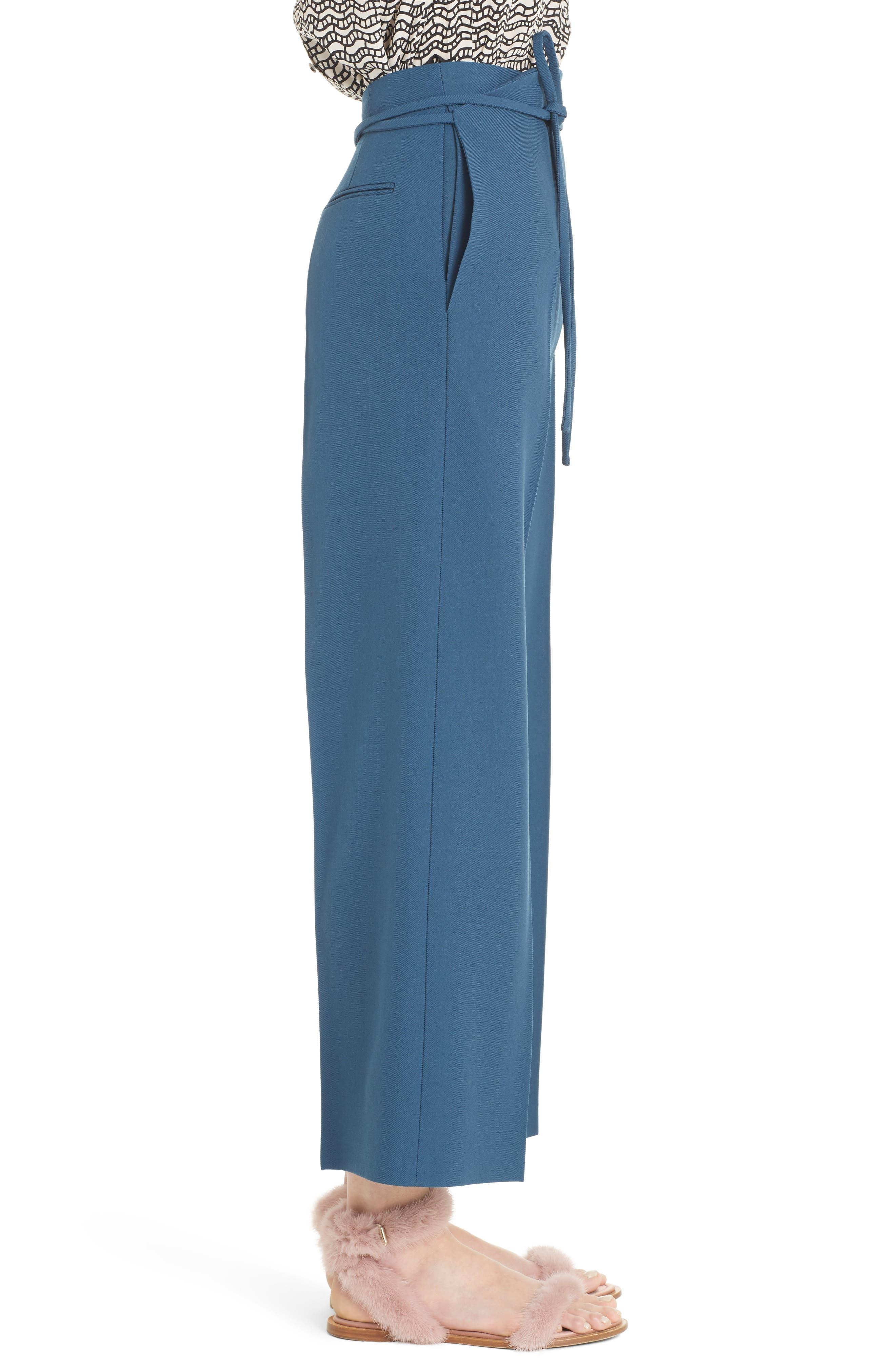 Tie Waist Crop Wool Pants,                             Alternate thumbnail 3, color,