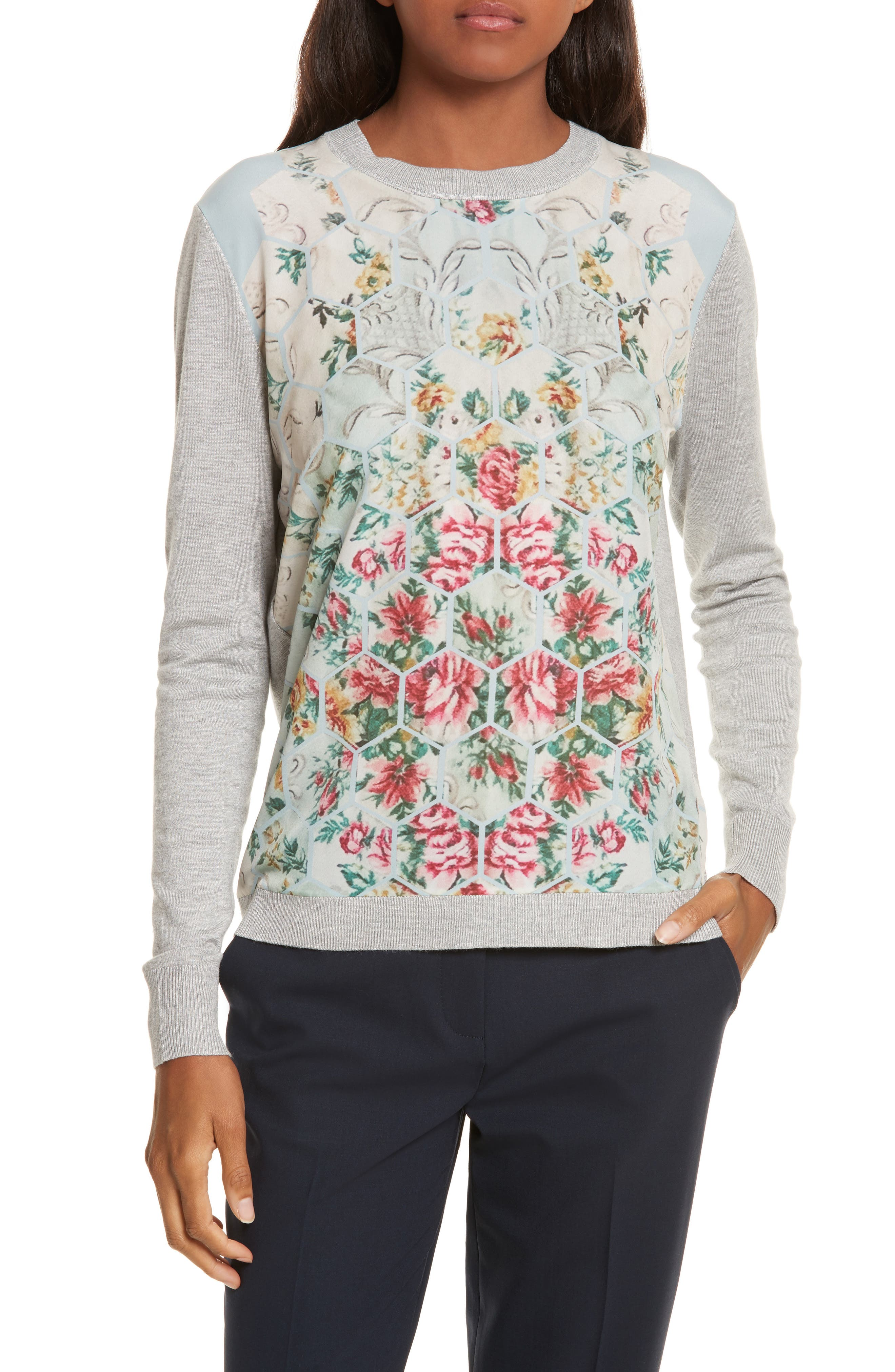 Fareeda Woven Front Patchwork Sweater,                             Main thumbnail 1, color,                             451