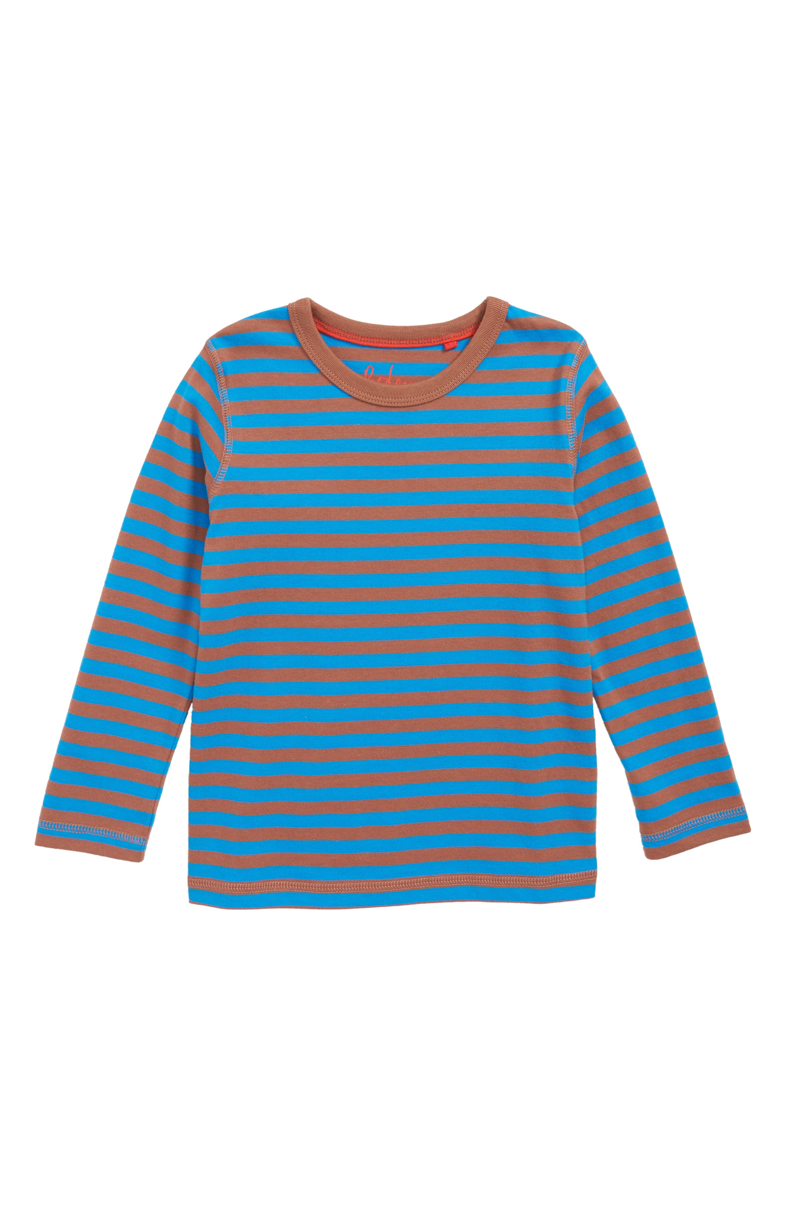 Supersoft Stripe T-Shirt,                             Main thumbnail 1, color,                             ELECTRIC BLUE/ MUD PIE BROWN