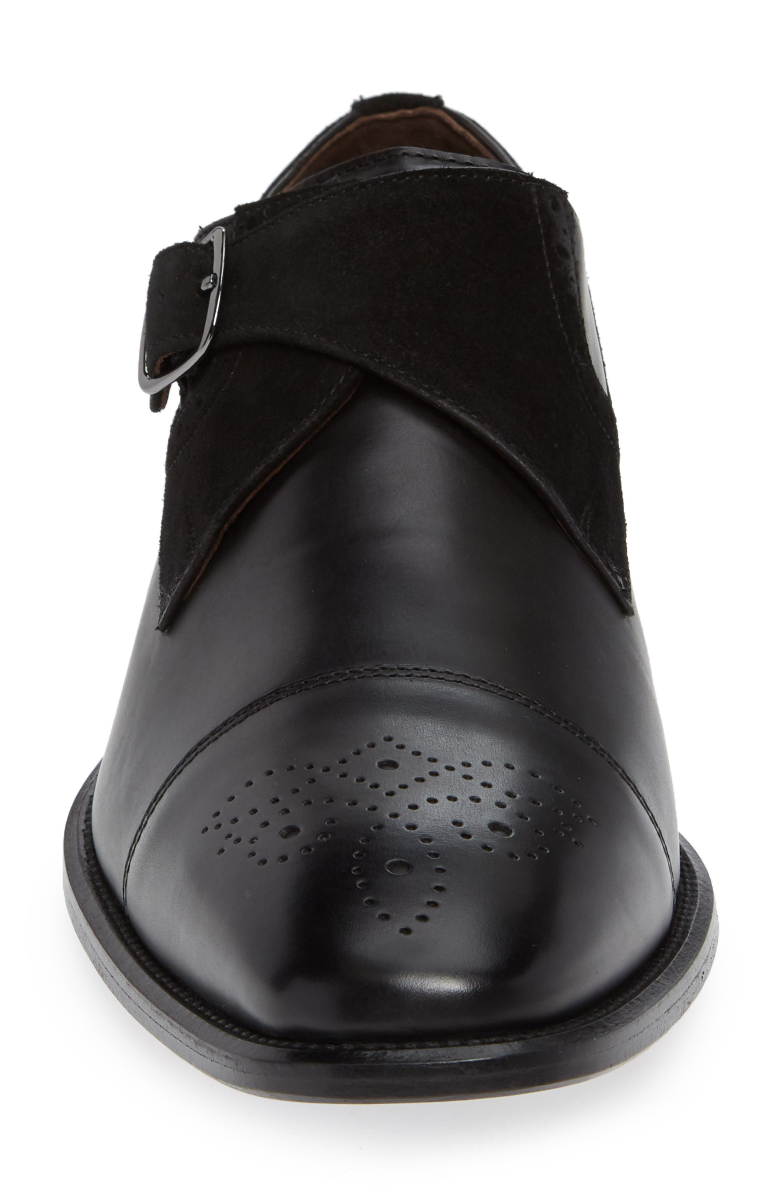 Maxwell Monk Shoe,                             Alternate thumbnail 4, color,                             BLACK SUEDE
