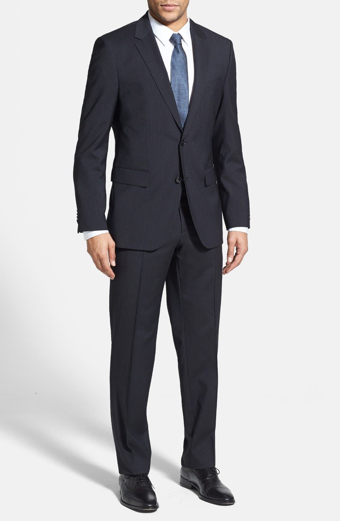 BOSS 'James/Sharp' Trim Fit Stripe Suit,                             Main thumbnail 1, color,                             410