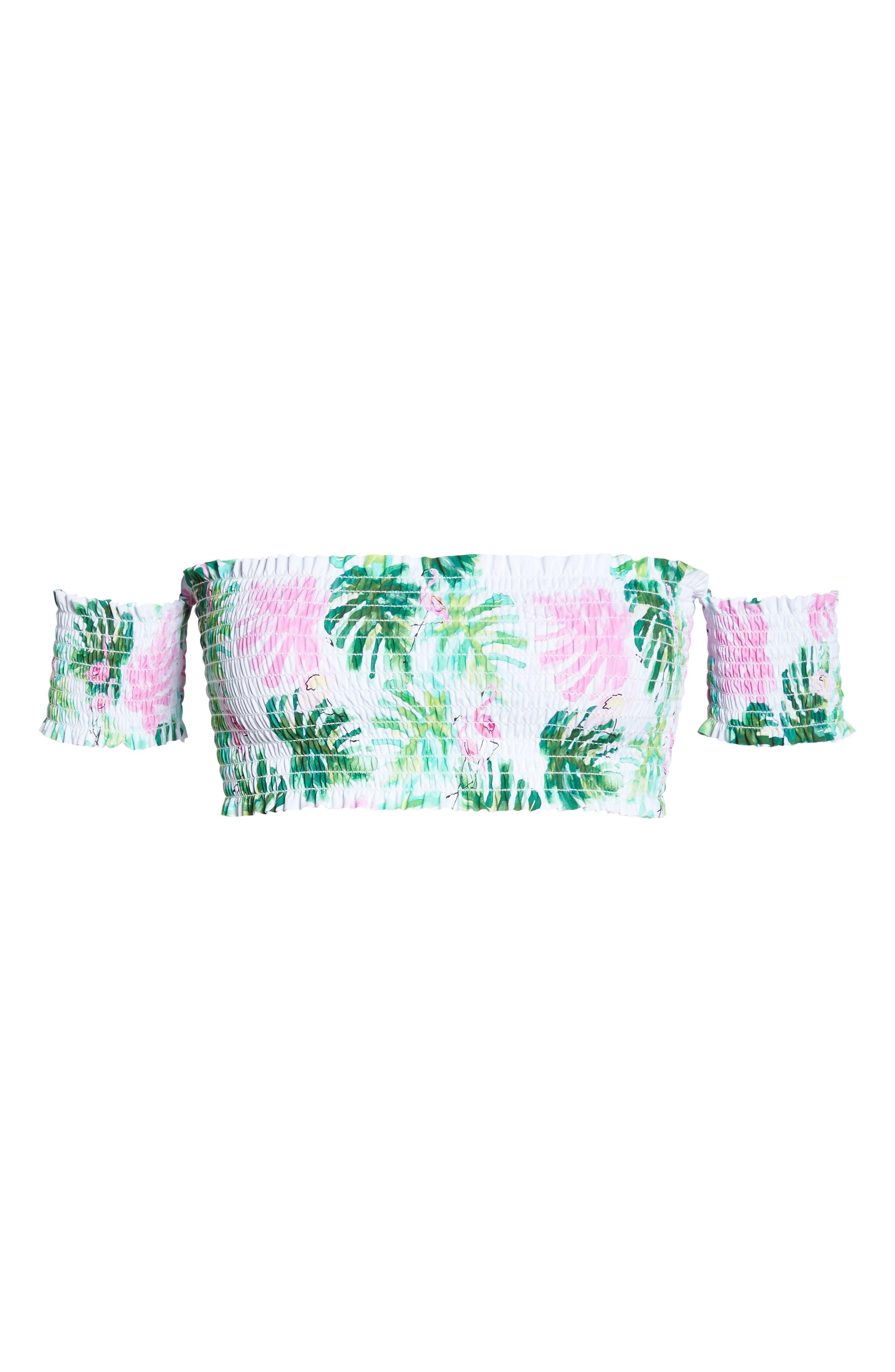 Smocked Off the Shoulder Bikini Top,                             Alternate thumbnail 5, color,                             MINGOS