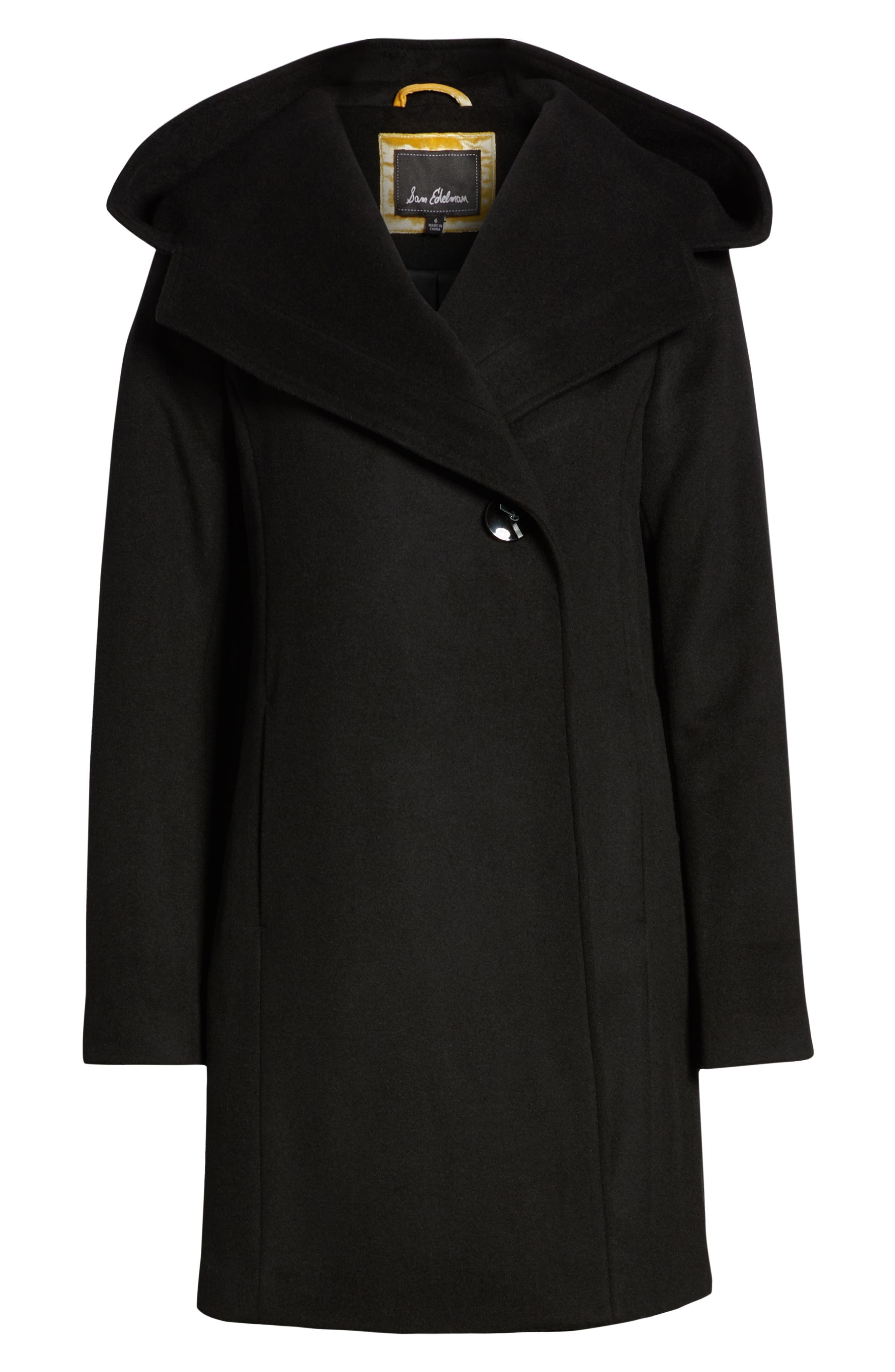 Shawl Collar Hooded Coat,                             Alternate thumbnail 6, color,                             BLACK