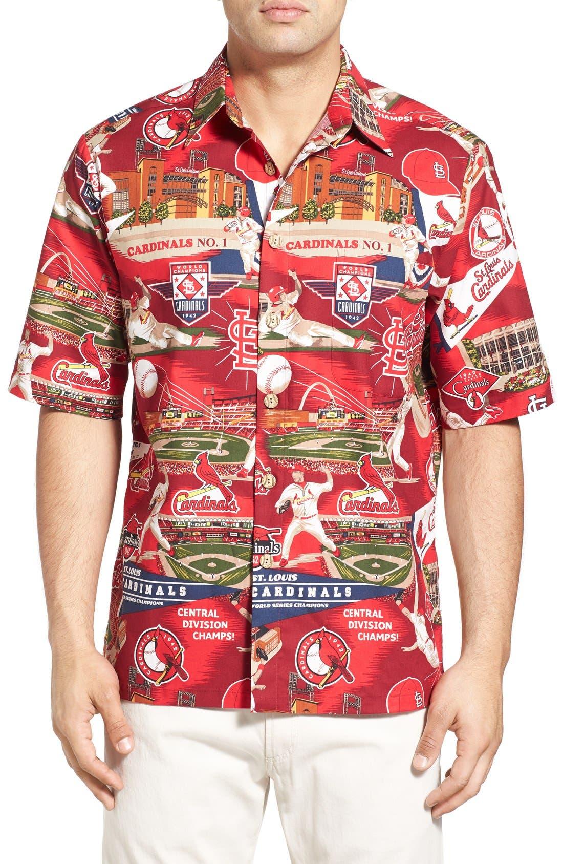 'St. Louis Cardinals' Print Camp Shirt, Main, color, 600