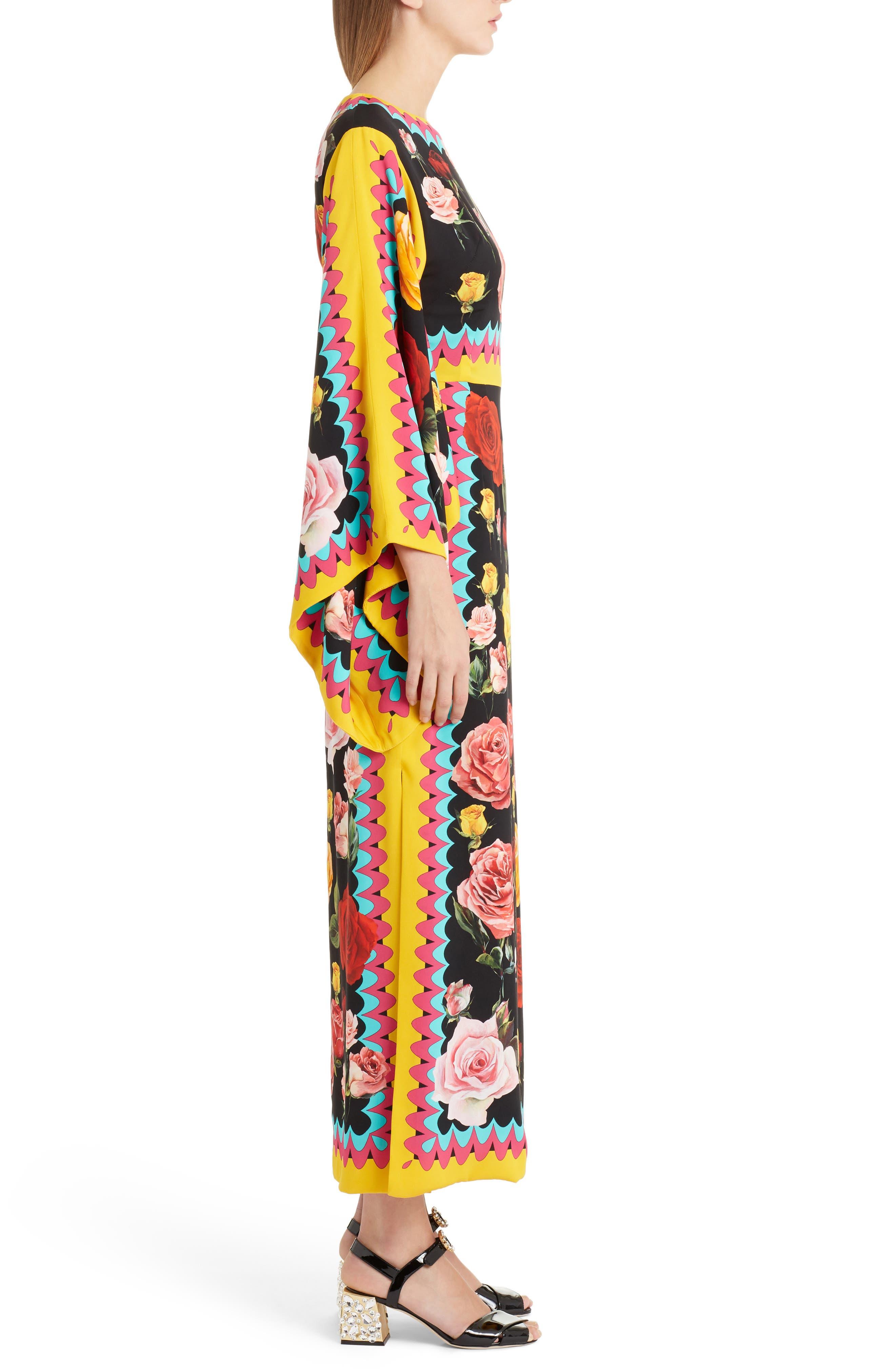 Charm Rose Print Stretch Silk Maxi Dress,                             Alternate thumbnail 3, color,                             001