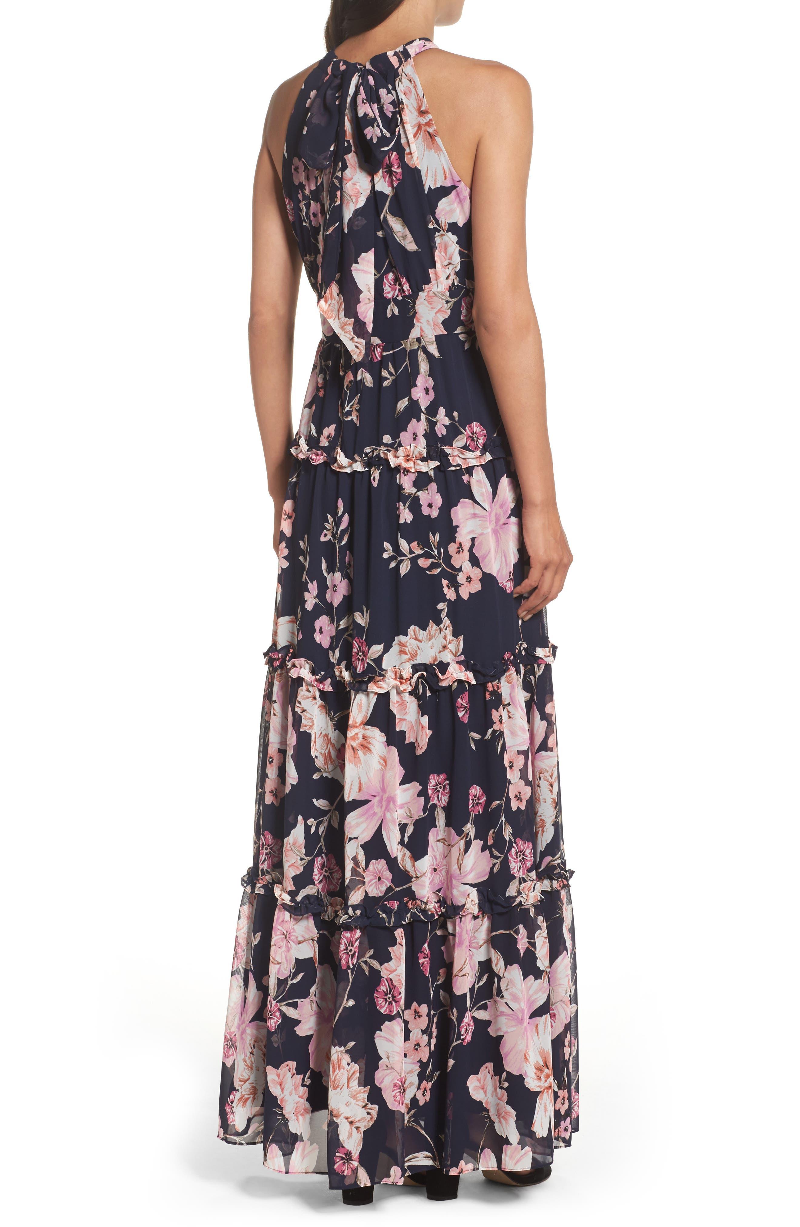 Floral Halter Maxi Dress,                             Alternate thumbnail 2, color,                             654