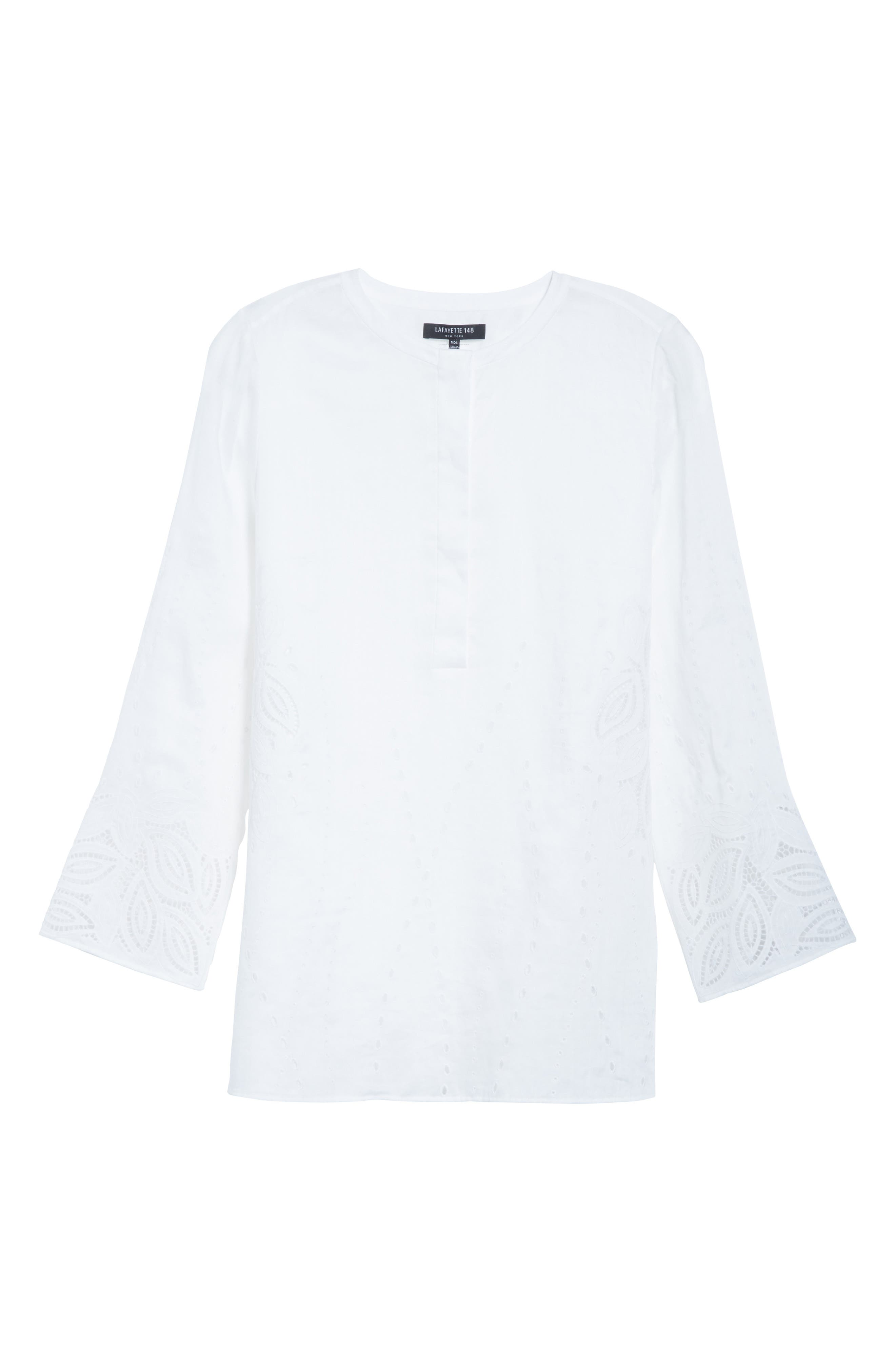 Haisley Embroidered Gemma Cloth Blouse,                             Alternate thumbnail 6, color,                             100