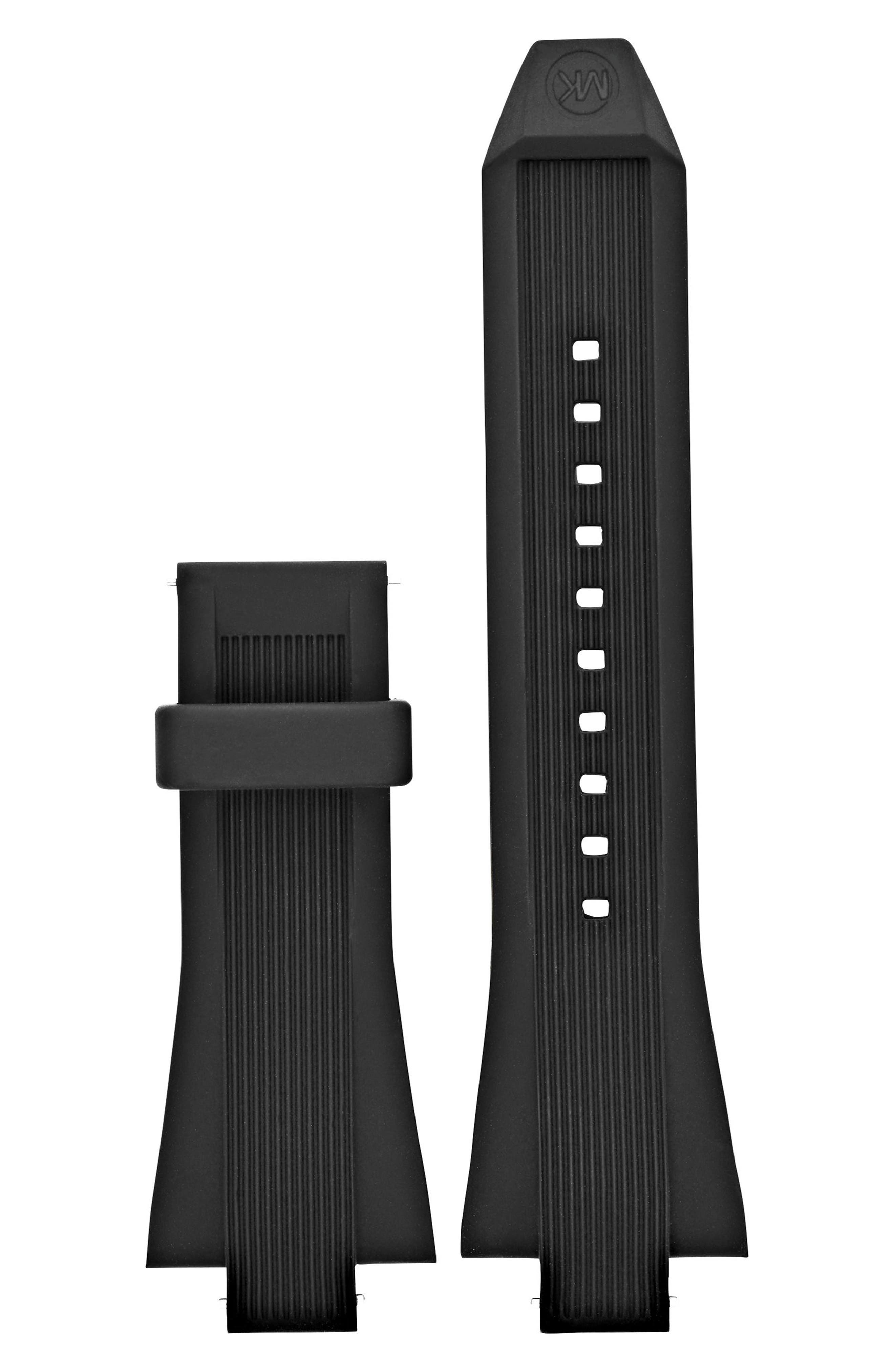 MICHAEL KORS,                             Dylan 28mm Silicone Watch Strap,                             Main thumbnail 1, color,                             001