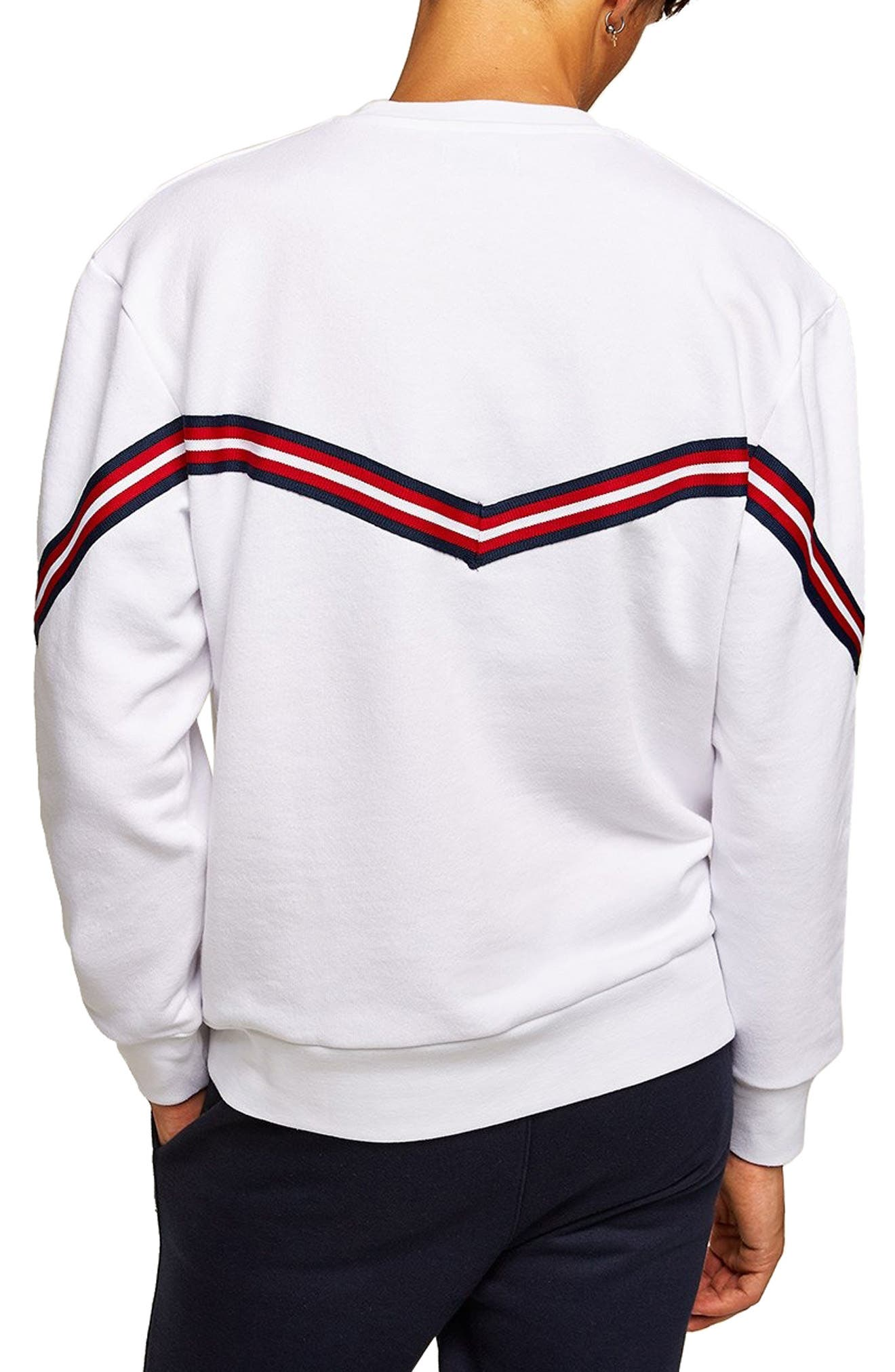 Chevron Tape Sweatshirt,                             Alternate thumbnail 2, color,                             WHITE MULTI