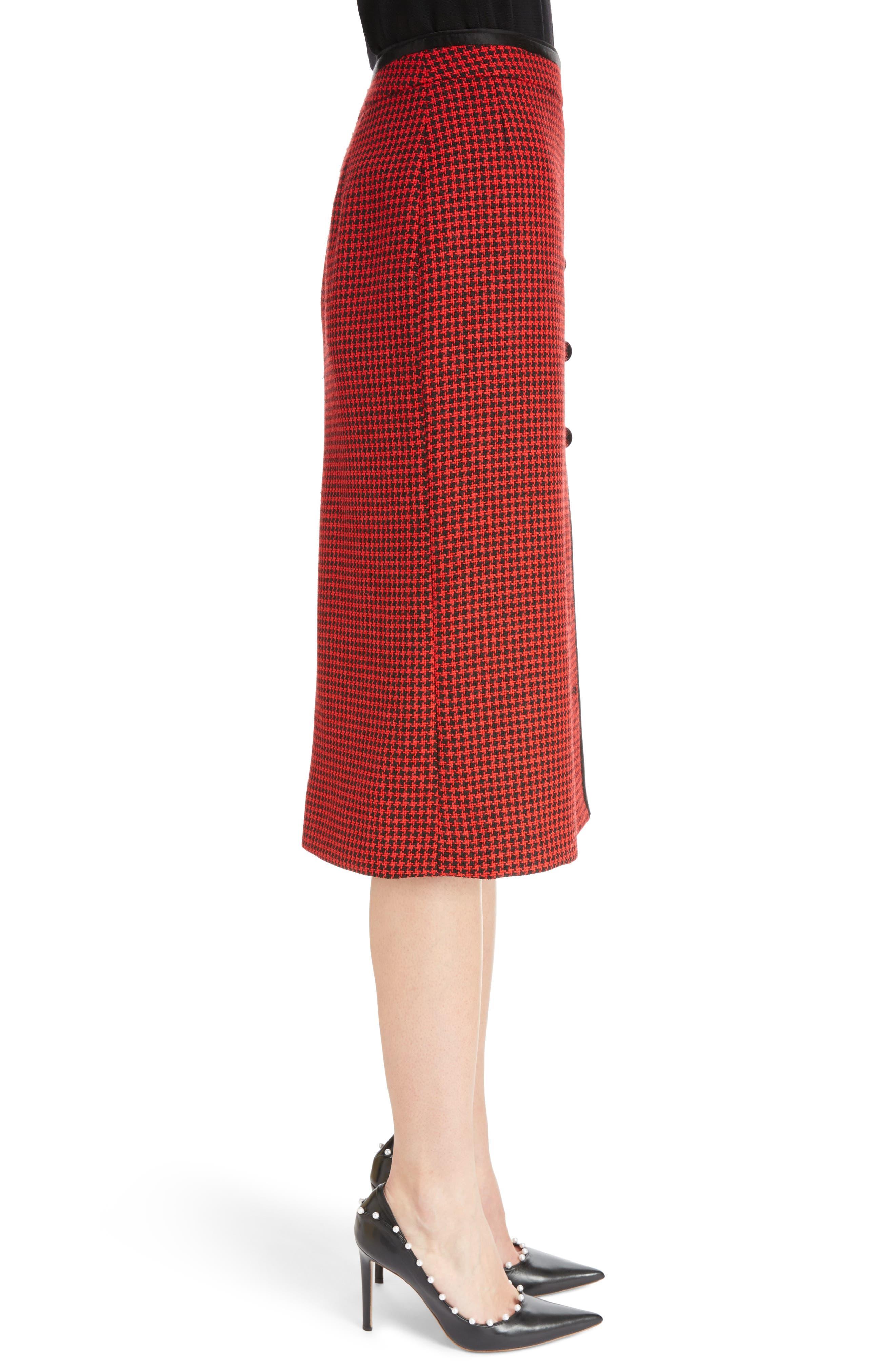 Christofor Houndstooth Wool Skirt,                             Alternate thumbnail 3, color,                             623