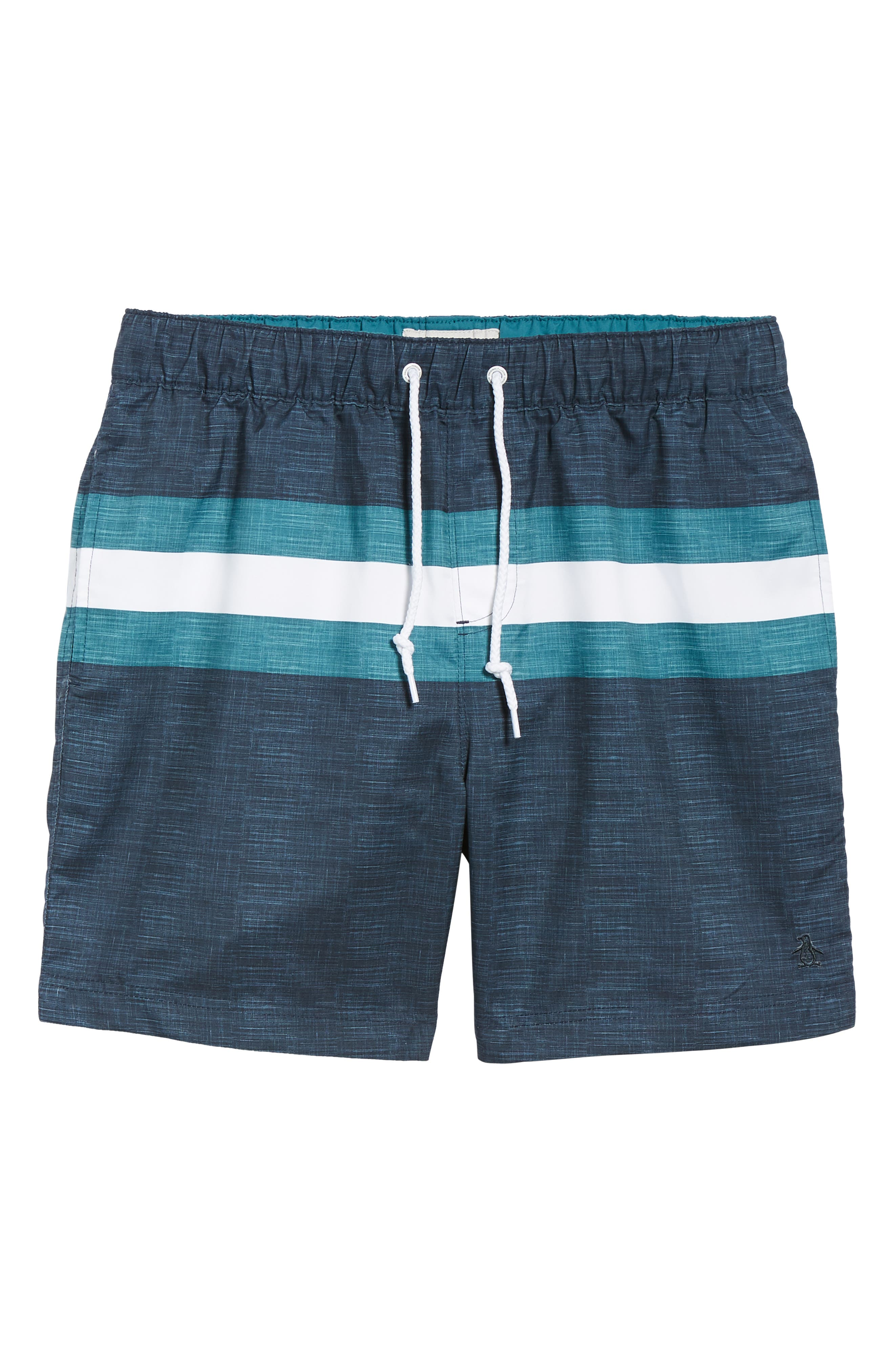Colorblock Swim Trunks,                             Alternate thumbnail 6, color,                             DARK SAPPHIRE